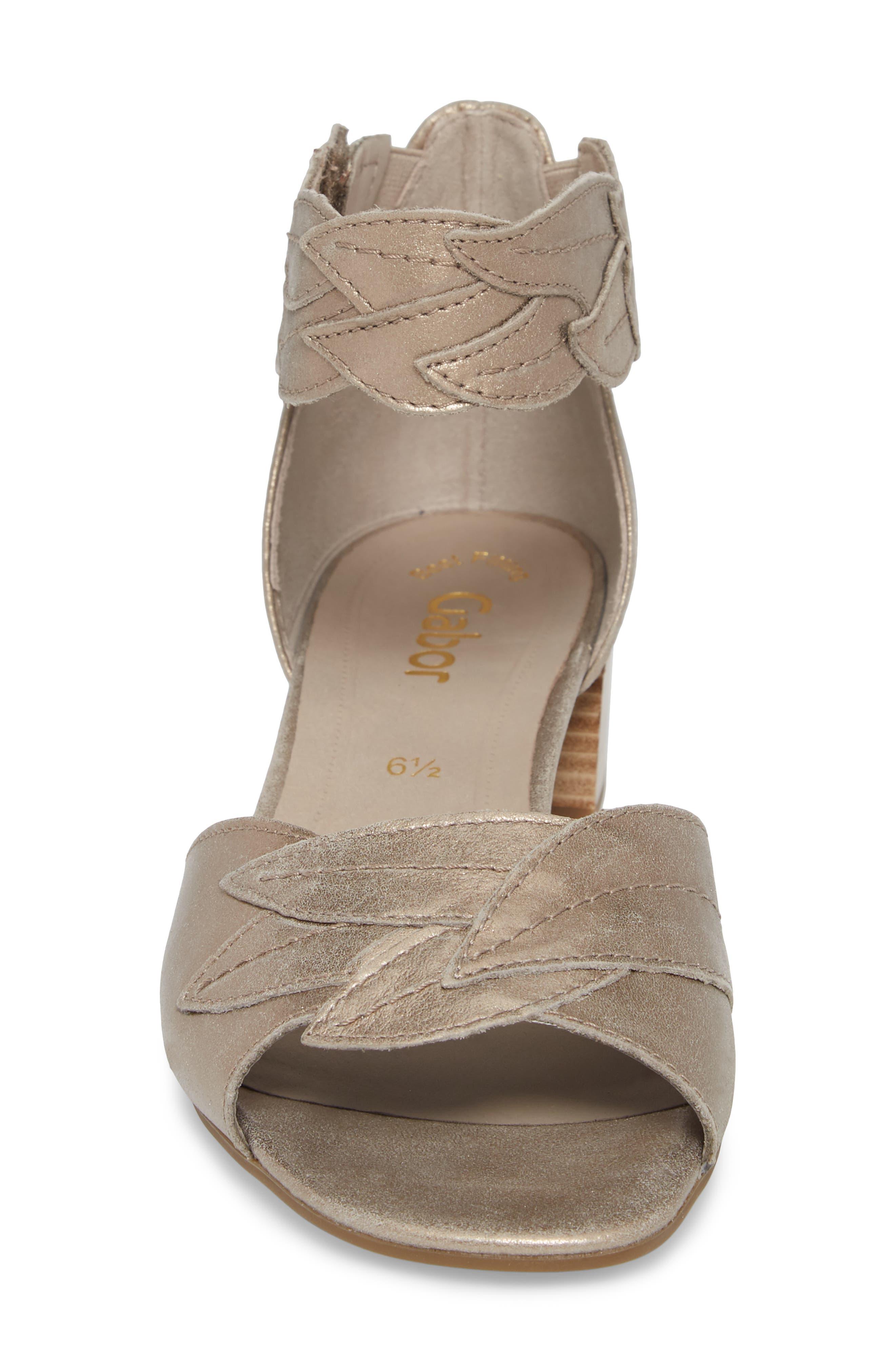 Leaf Ankle Strap Sandal,                             Alternate thumbnail 4, color,                             BEIGE METALLIC LEATHER