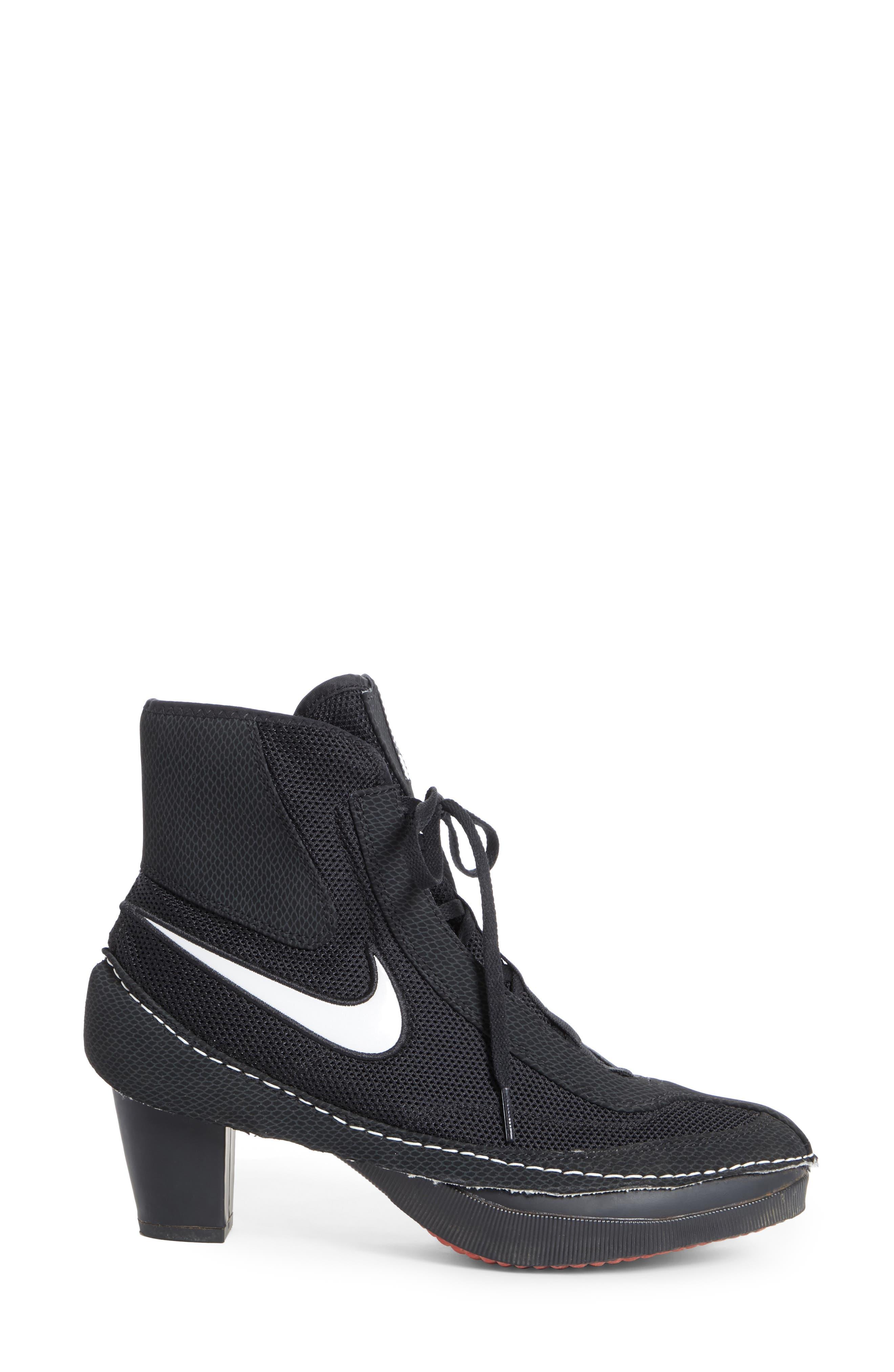x Nike Heeled Bootie,                             Alternate thumbnail 3, color,                             BLACK