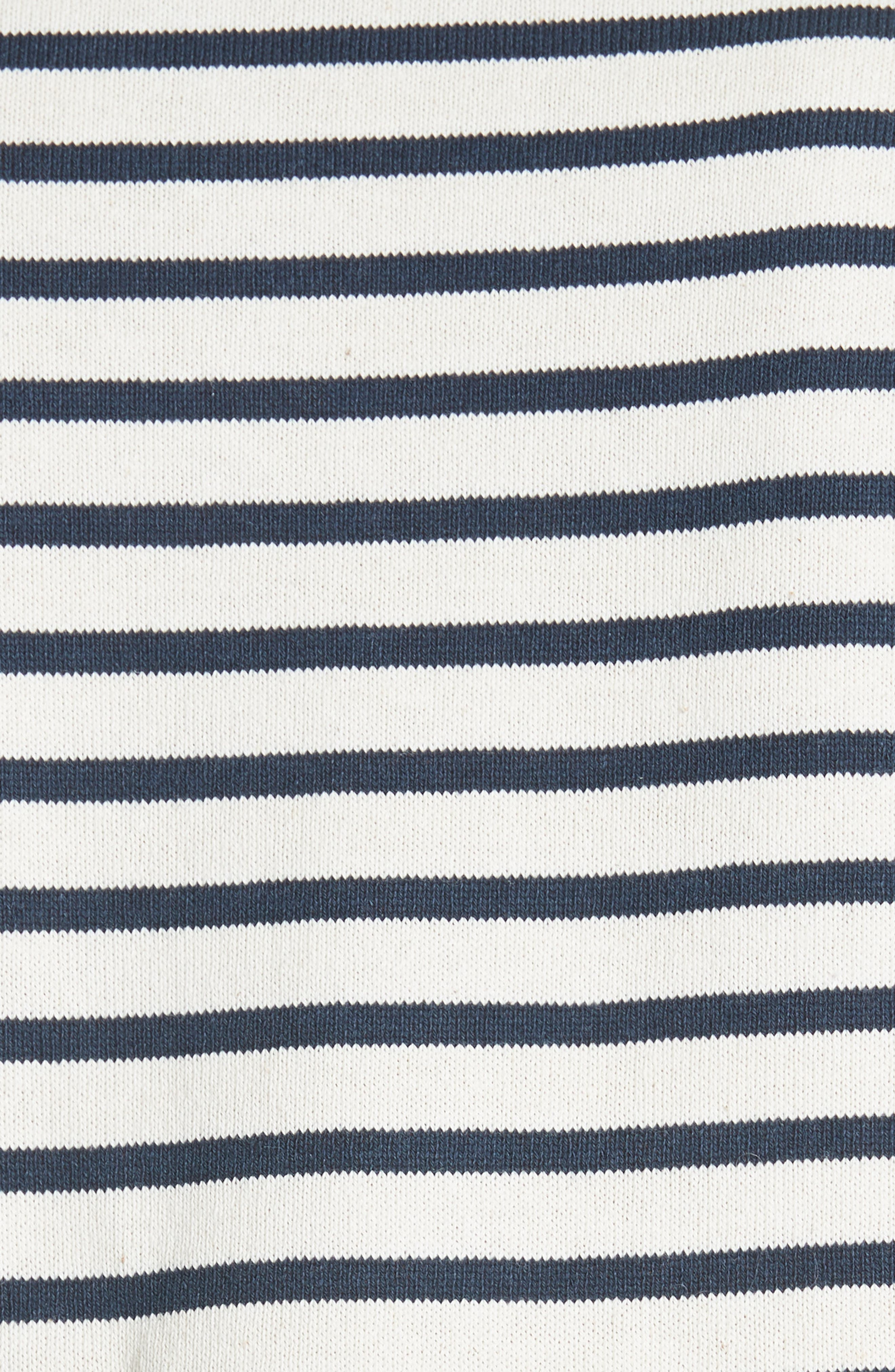 Levine Mixed Media Top,                             Alternate thumbnail 5, color,                             CREAM/ NAVY STRIPE