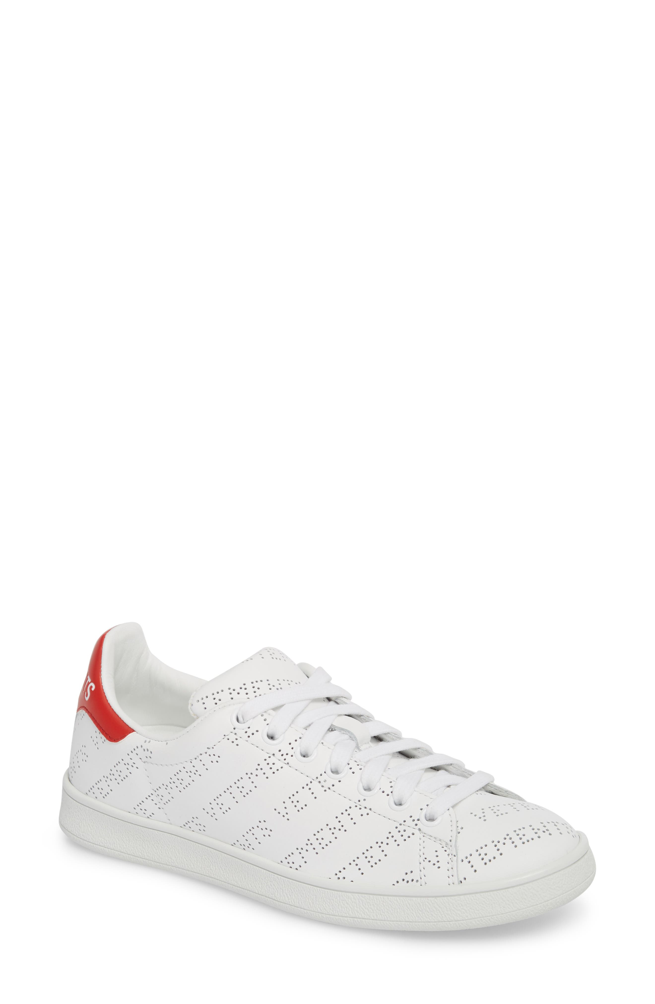 Perforated Sneaker,                         Main,                         color, WHITE RED