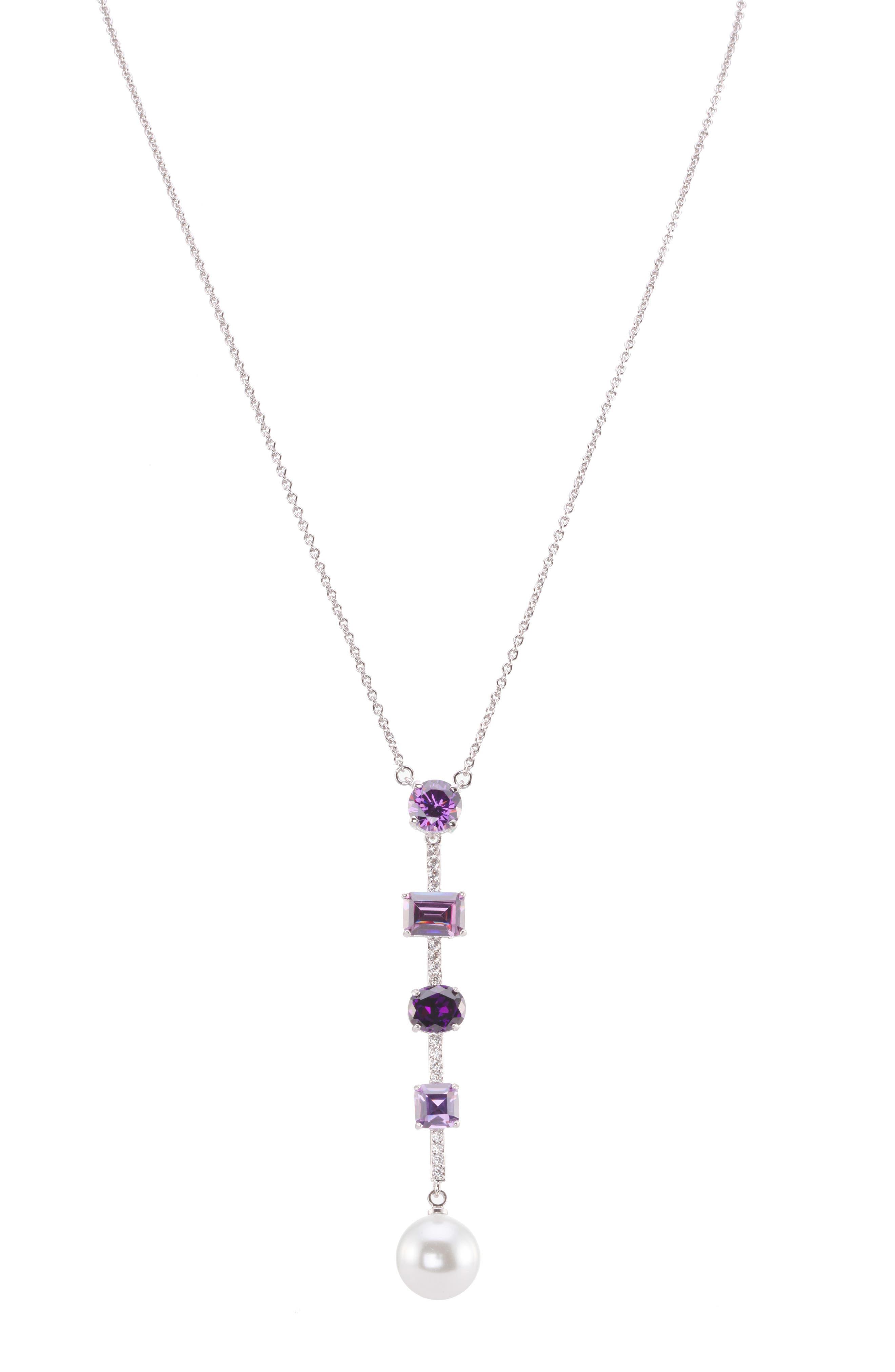 Crystal Y-Necklace,                             Main thumbnail 1, color,                             PEARL/ AMETHYST/ SILVER