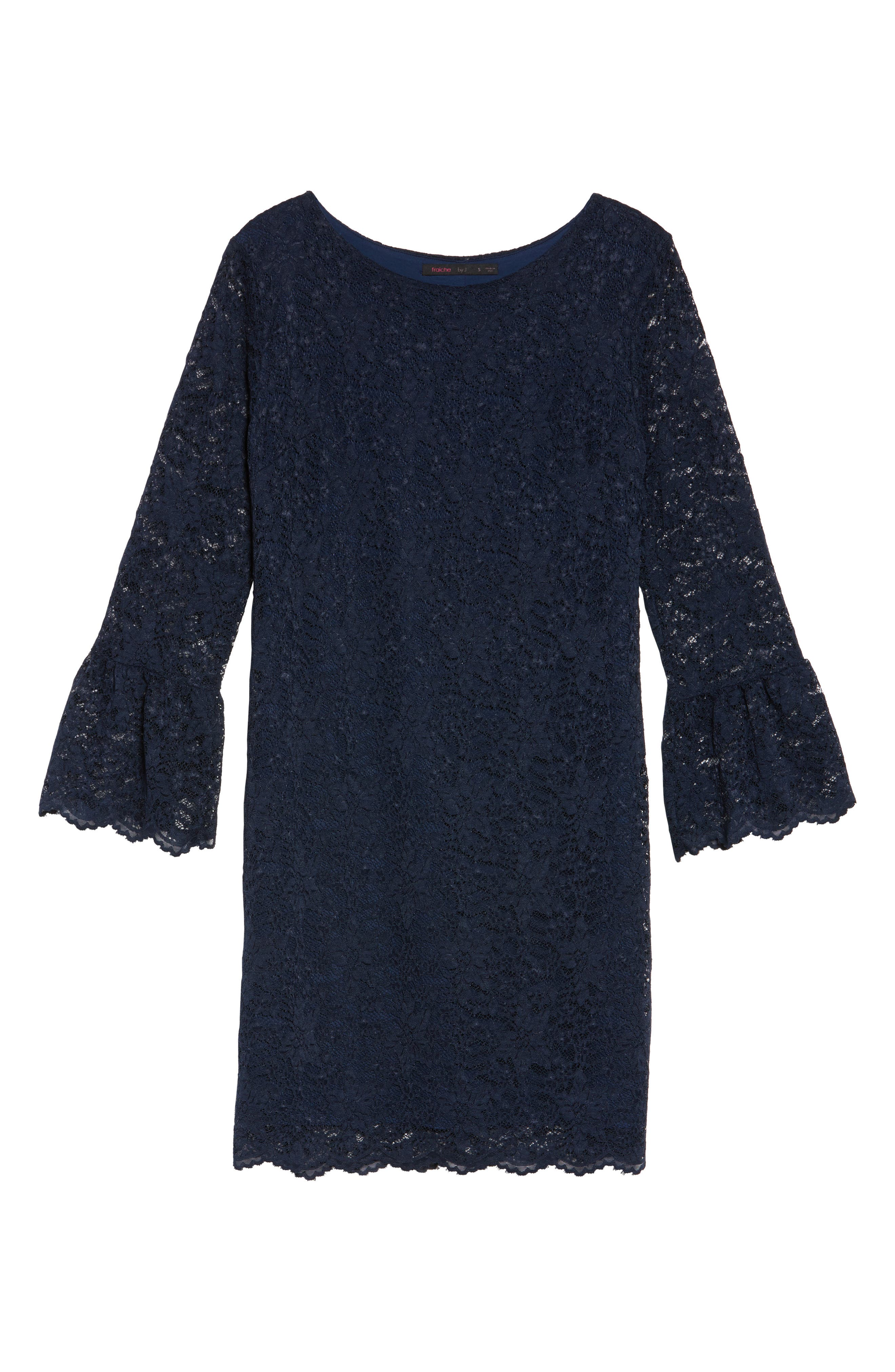 Lace Bell Sleeve Shift Dress,                             Alternate thumbnail 6, color,                             410
