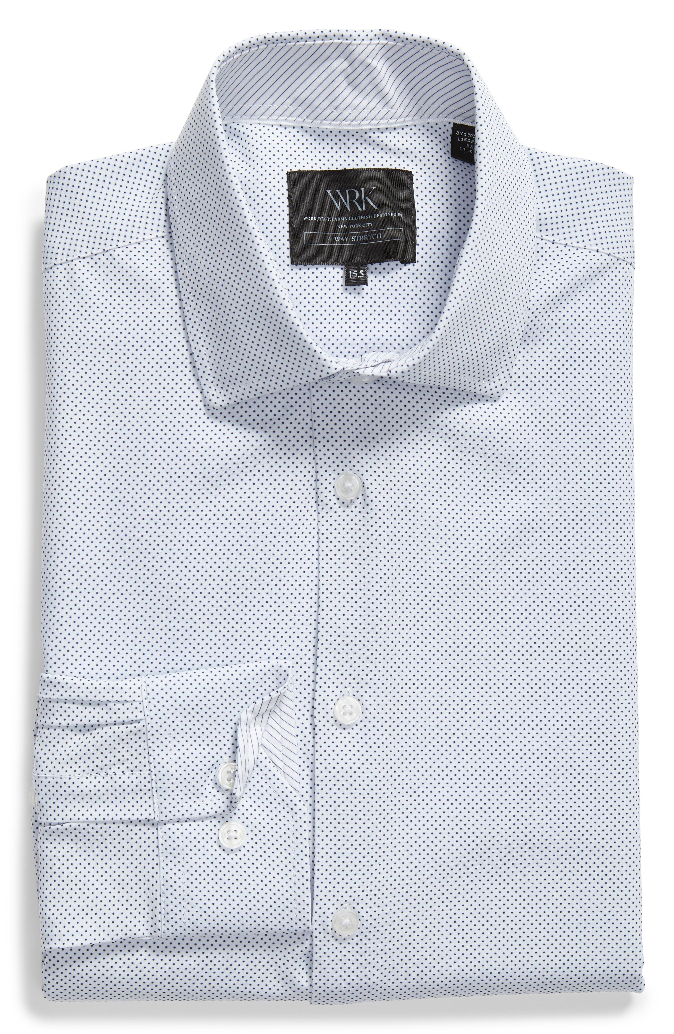 W.R.K,                             Trim Fit Dot 4-Way Stretch Dress Shirt,                             Alternate thumbnail 5, color,                             100