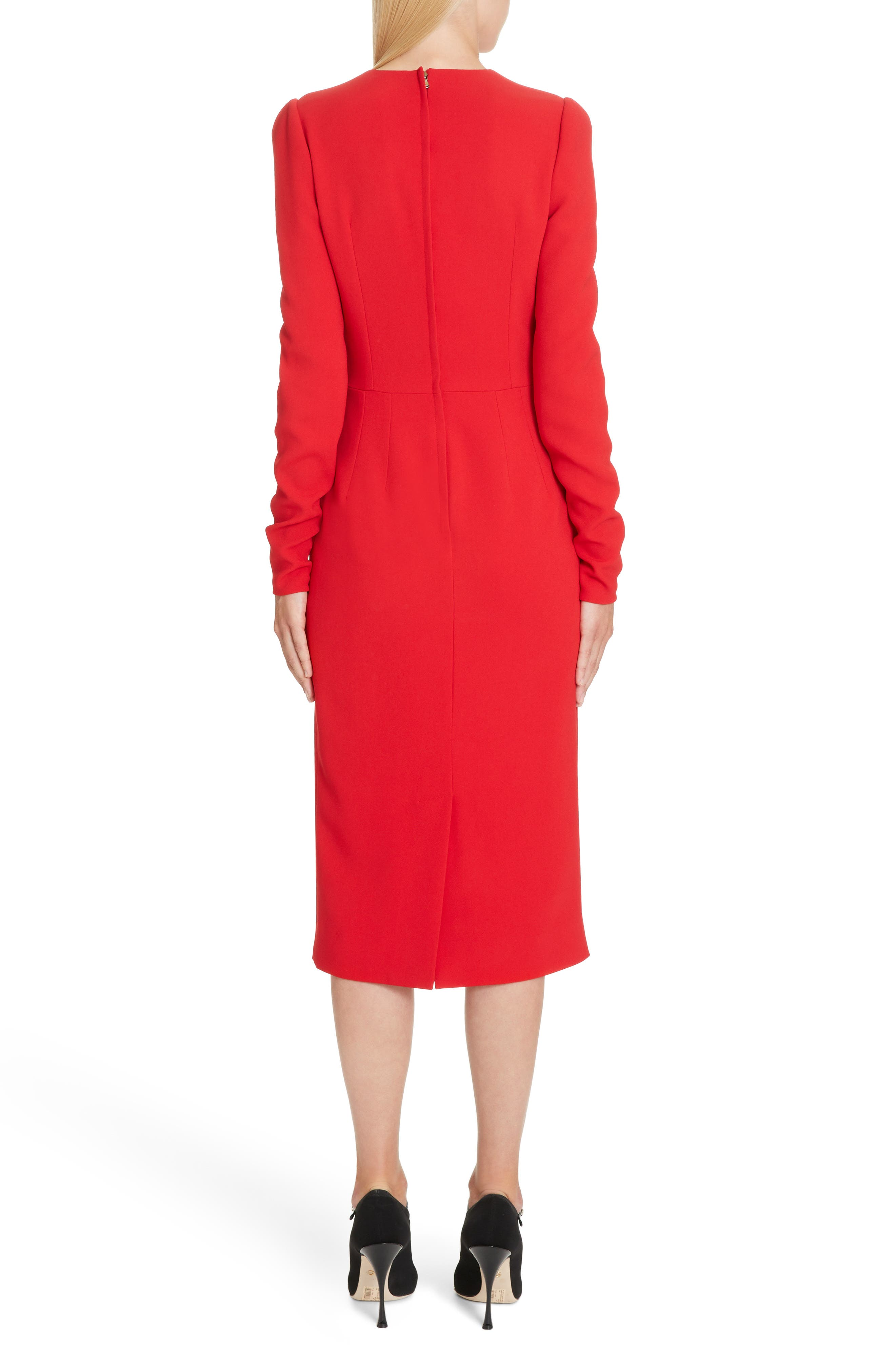 DOLCE&GABBANA,                             Sacred Heart Patch Cady Pencil Dress,                             Alternate thumbnail 2, color,                             RED