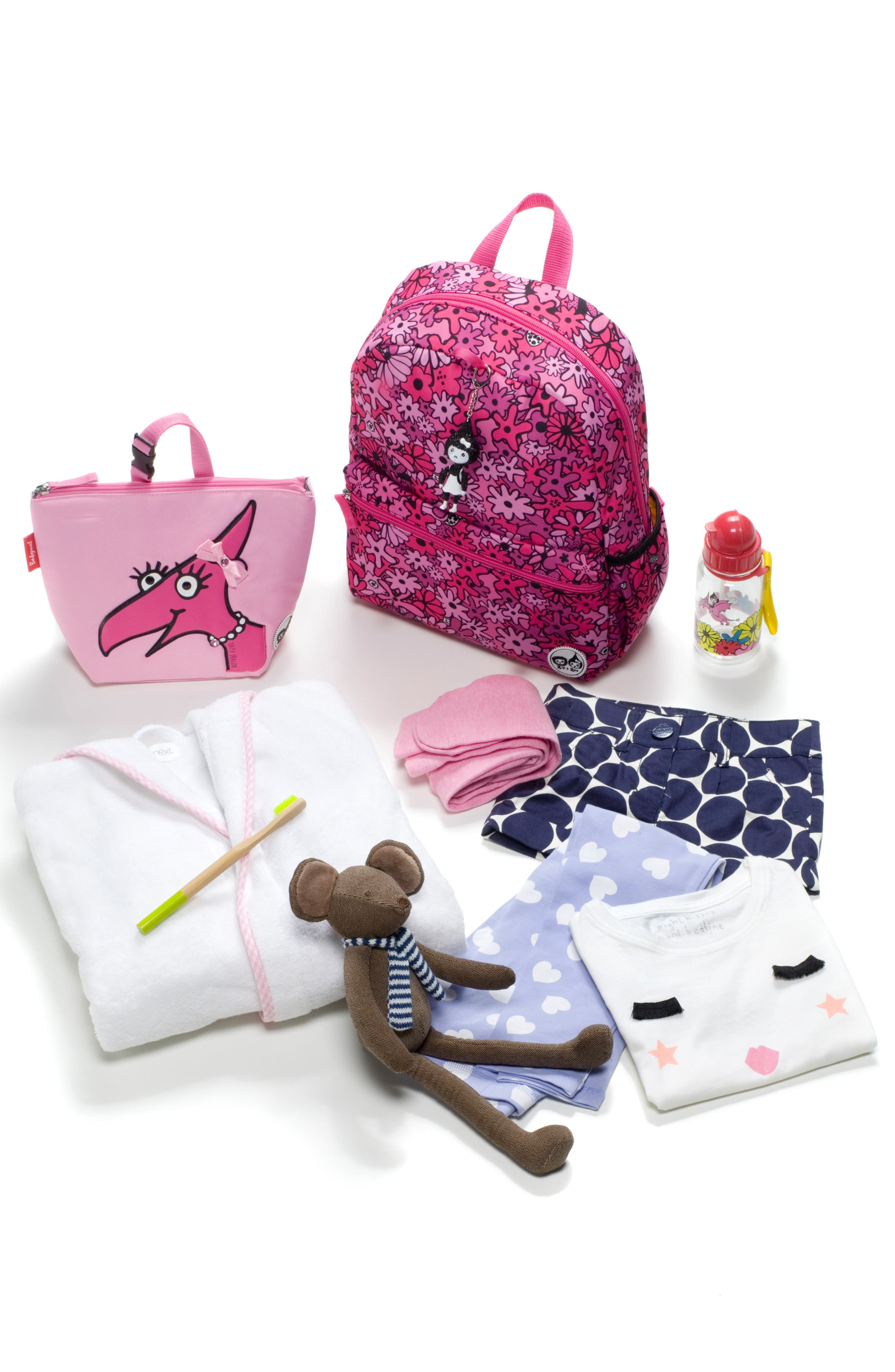 Zip & Zoe Floral Junior Backpack,                             Alternate thumbnail 9, color,                             FLORAL PINK