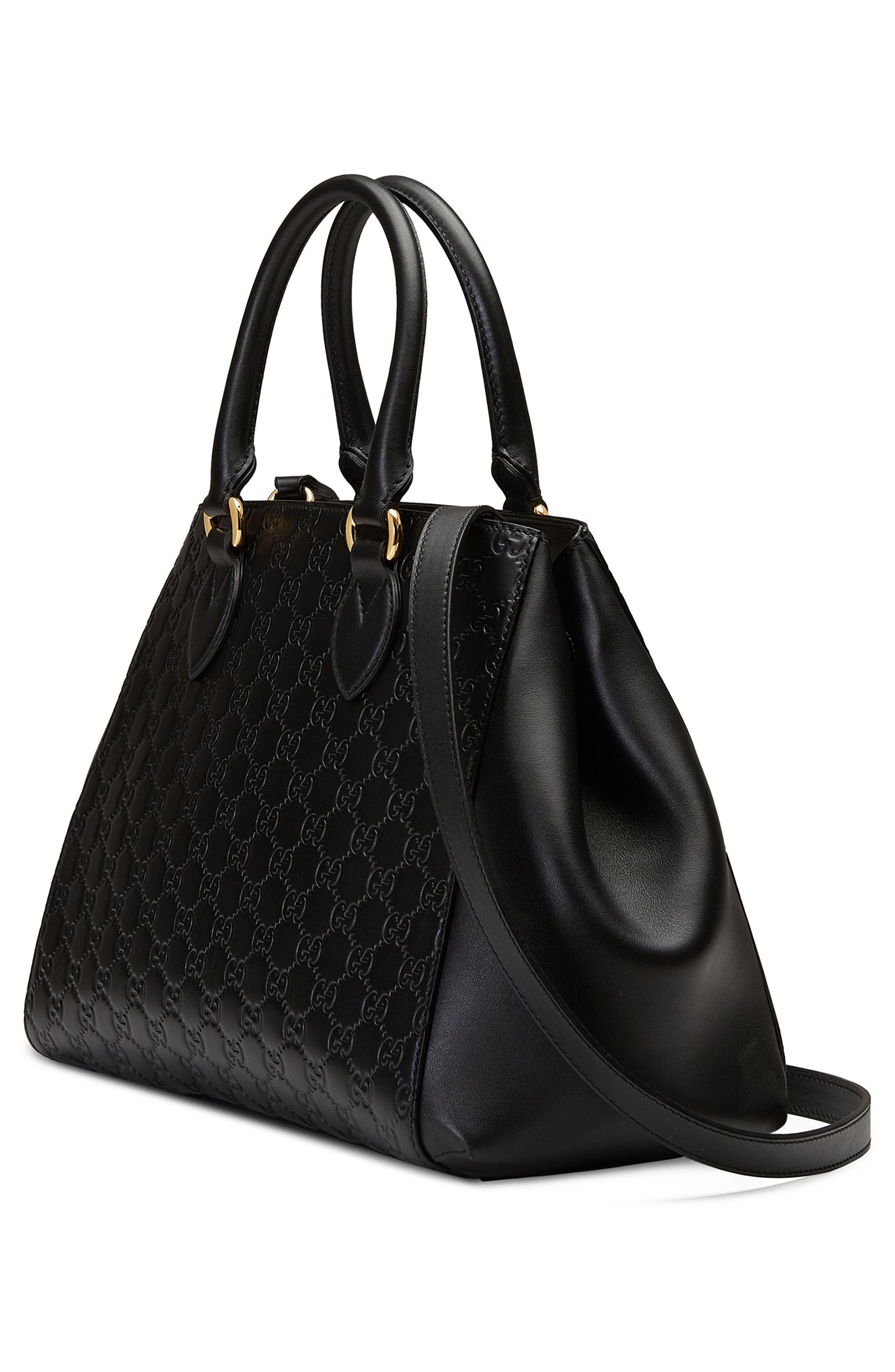 Large Top Handle Signature Soft Leather Tote,                             Alternate thumbnail 4, color,                             001