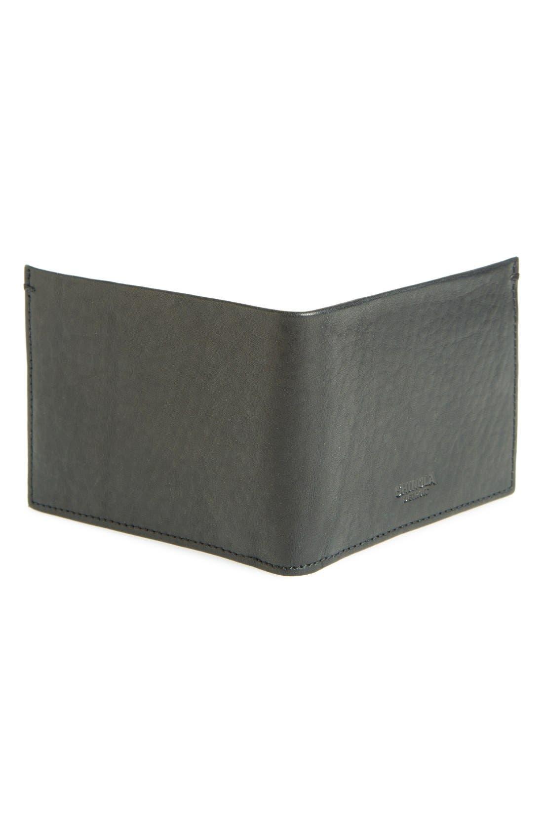 Slim Bifold Leather Wallet,                             Alternate thumbnail 2, color,                             BLACK
