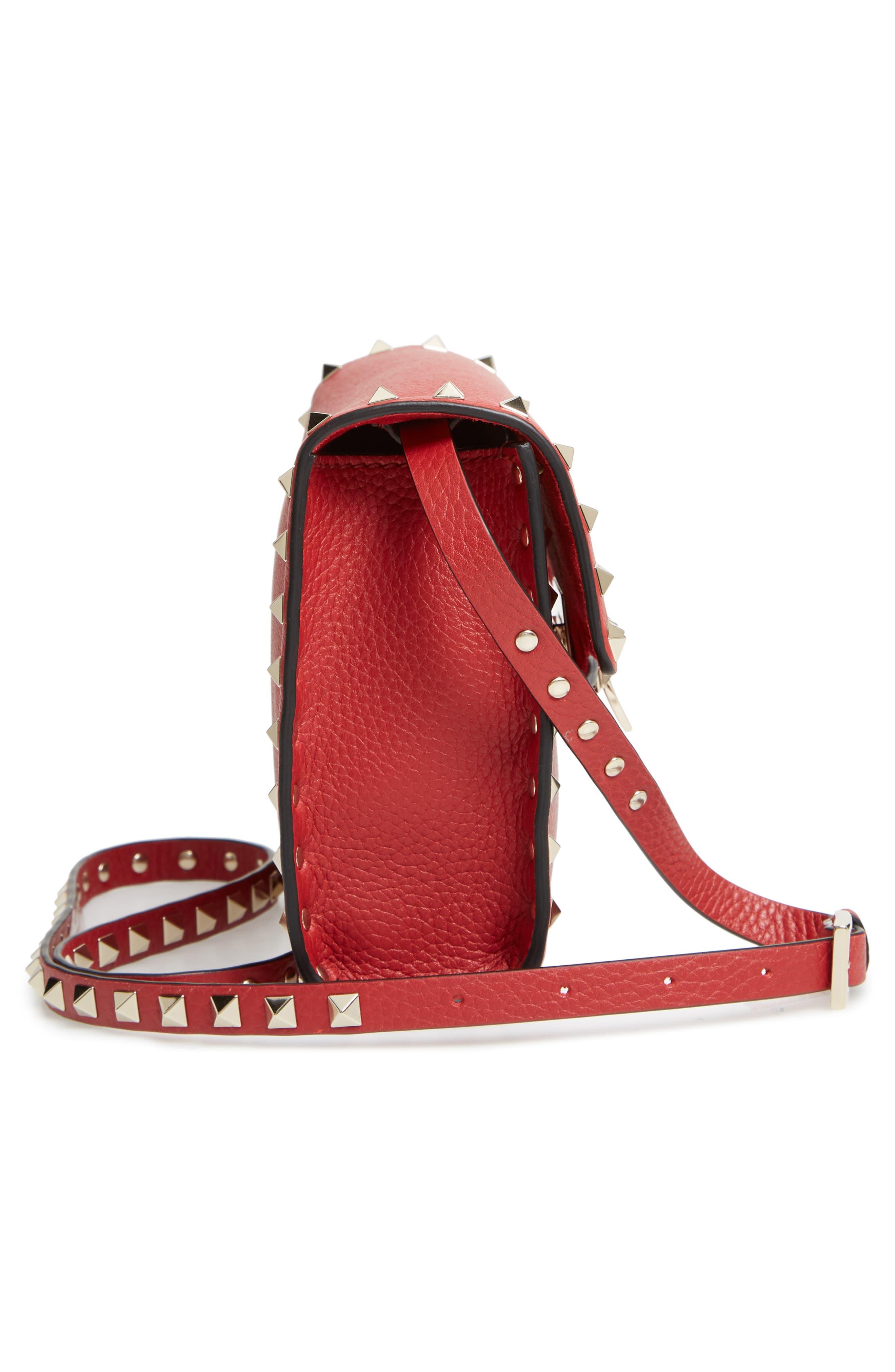 Medium Rockstud Leather Crossbody Bag,                             Alternate thumbnail 5, color,                             ROSSO V