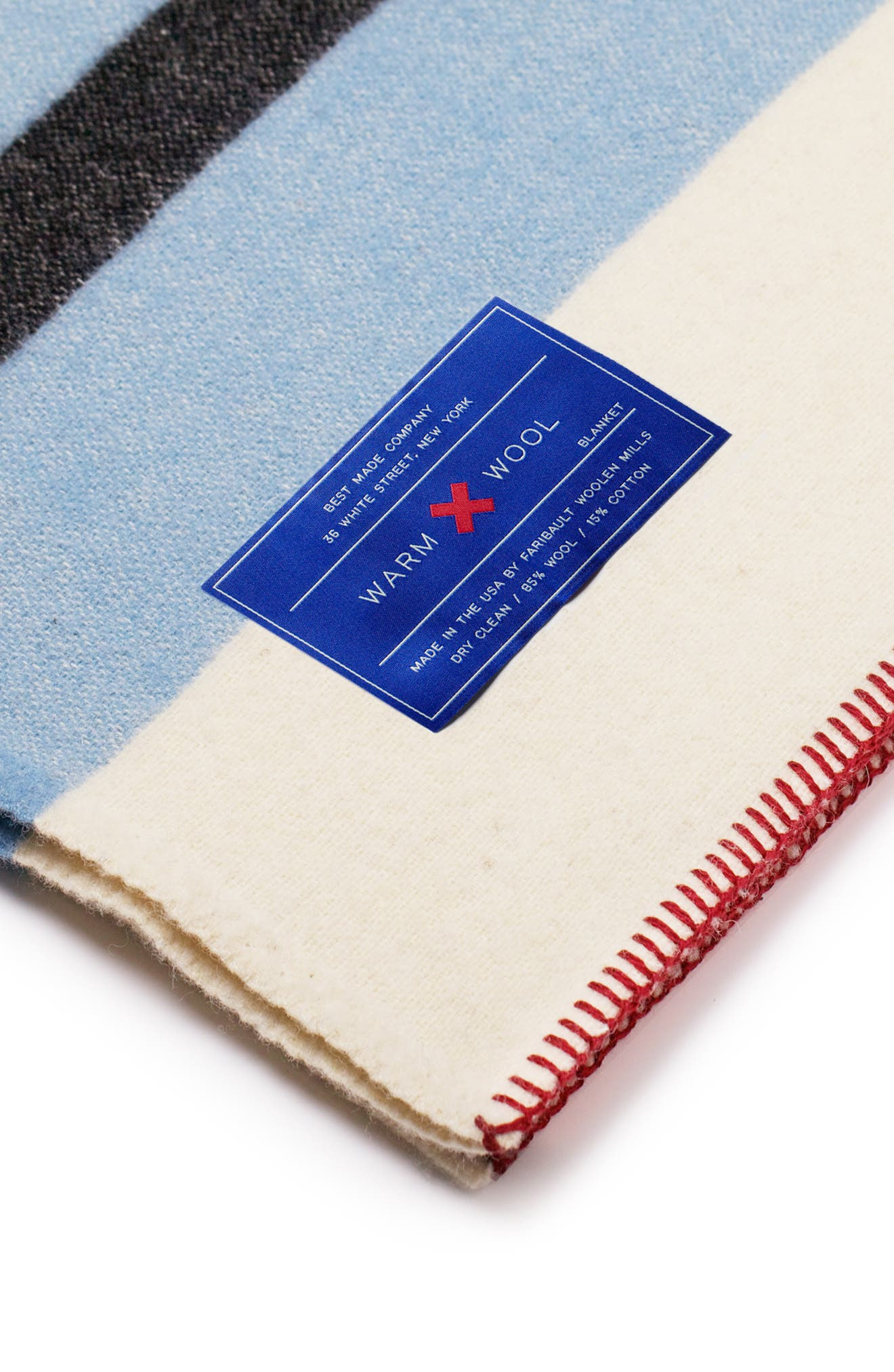 The Warm Wool Blend Blanket,                             Alternate thumbnail 3, color,                             WHITE/ BLUE/ RED