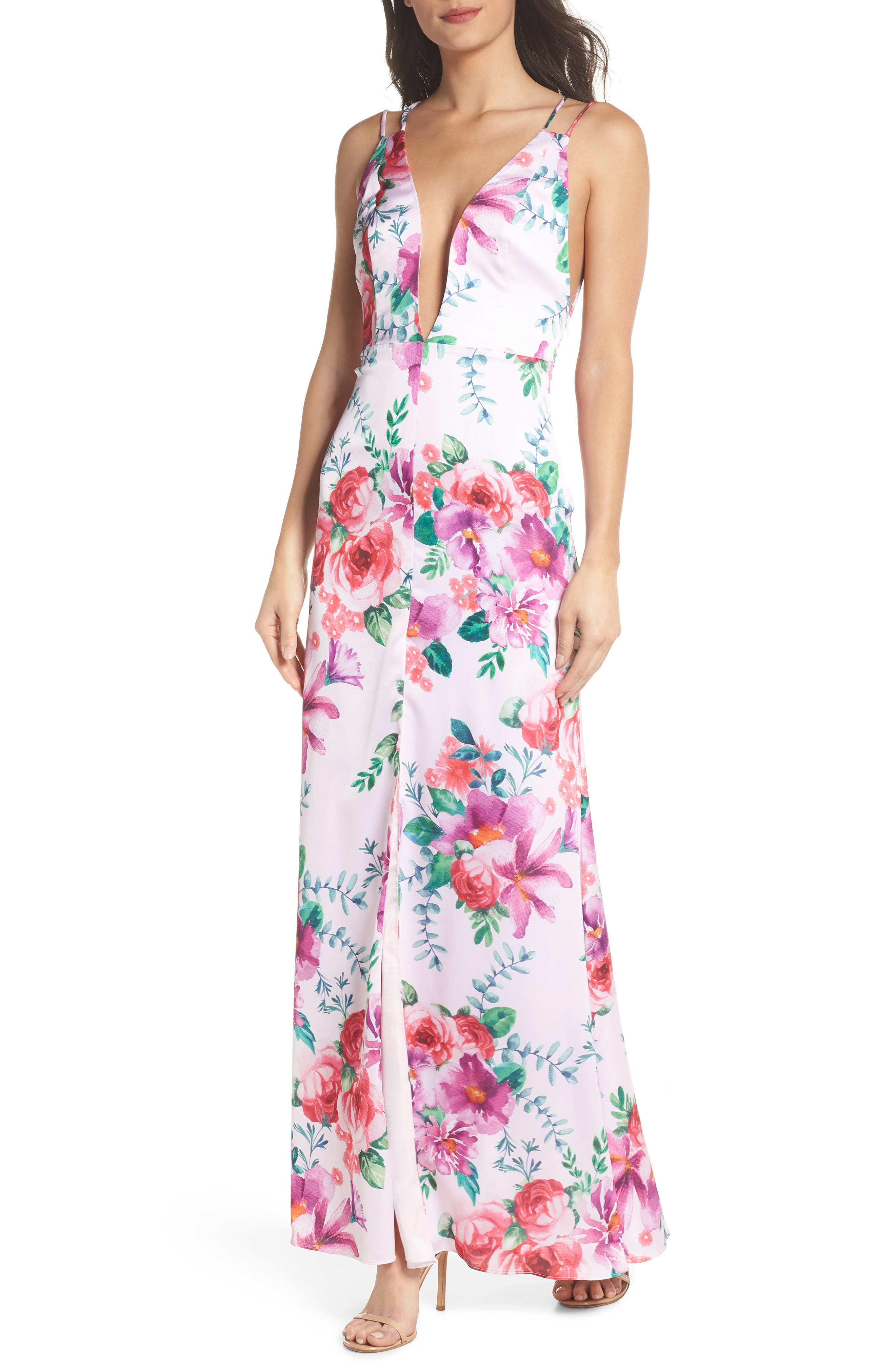 The Rylee Floral Strappy Gown,                             Main thumbnail 1, color,                             653
