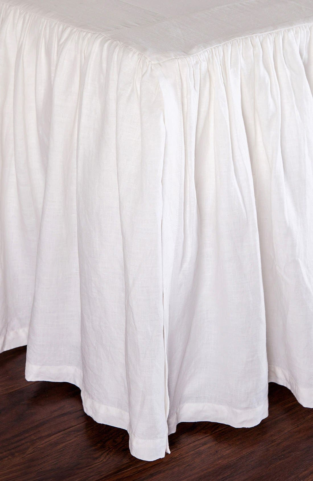 Gathered Linen Bed Skirt,                         Main,                         color, WHITE