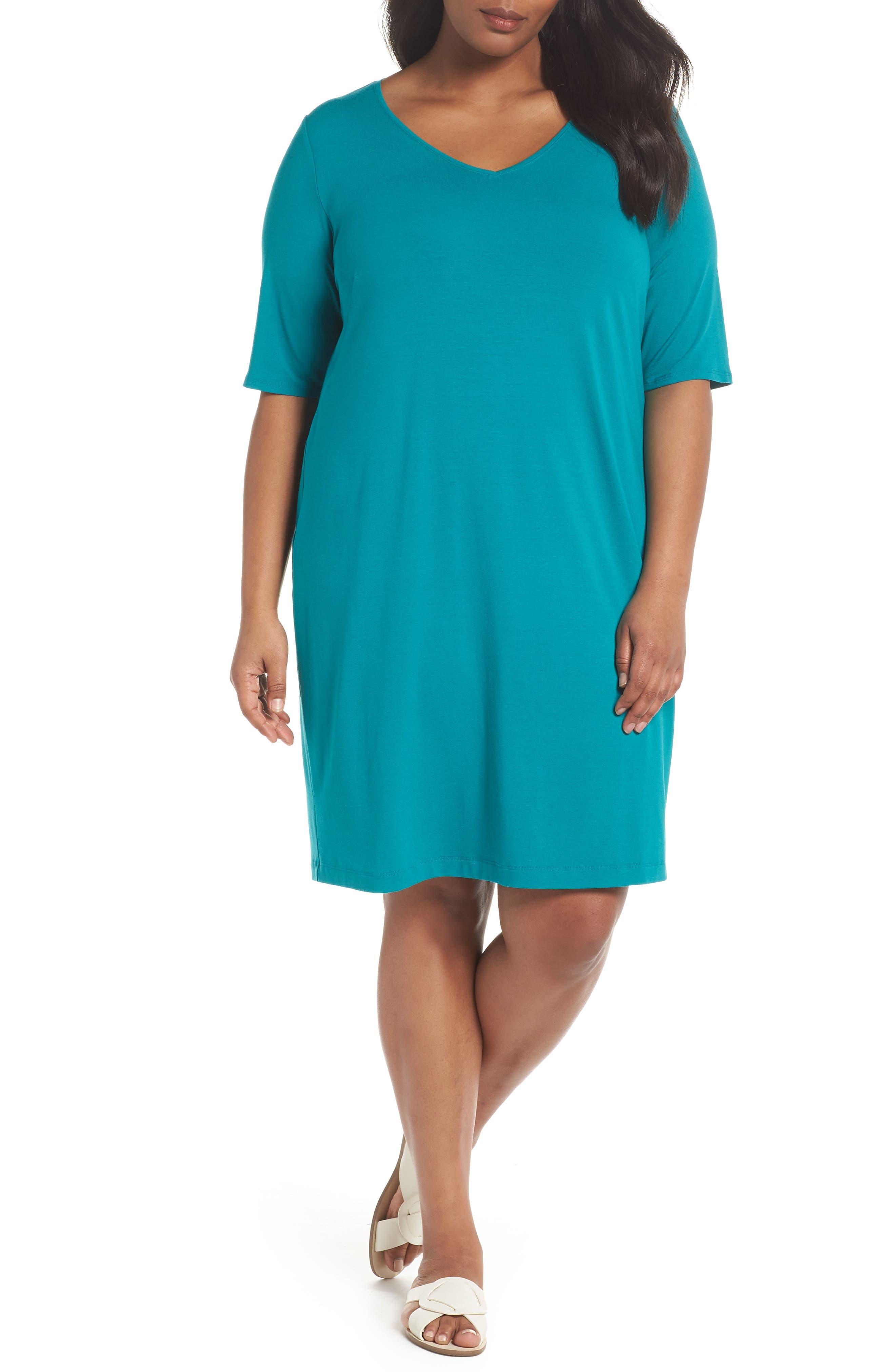 V-Neck Stretch Jersey Shift Dress,                             Main thumbnail 4, color,