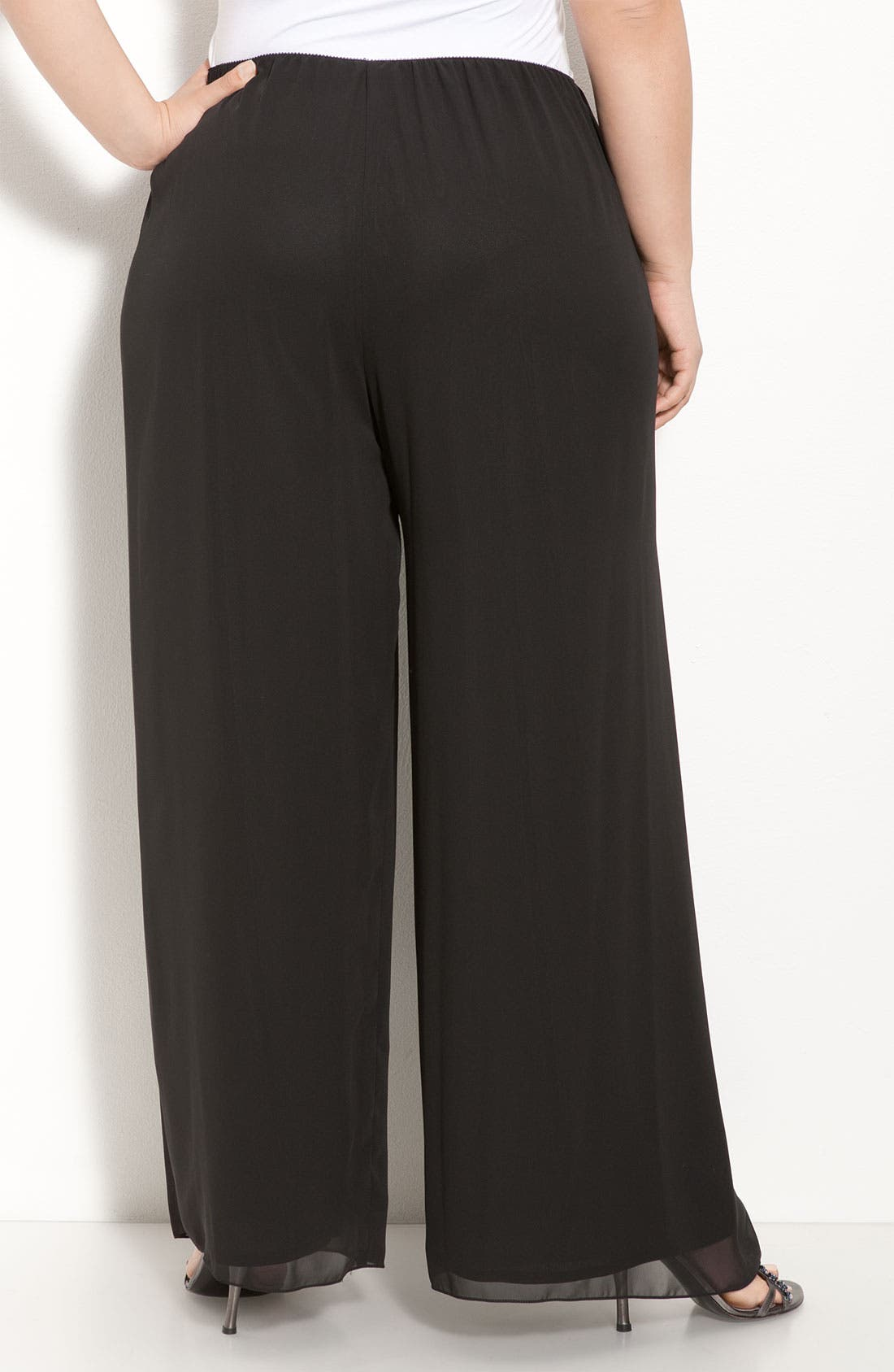 Chiffon Palazzo Pants,                             Alternate thumbnail 2, color,                             BLACK