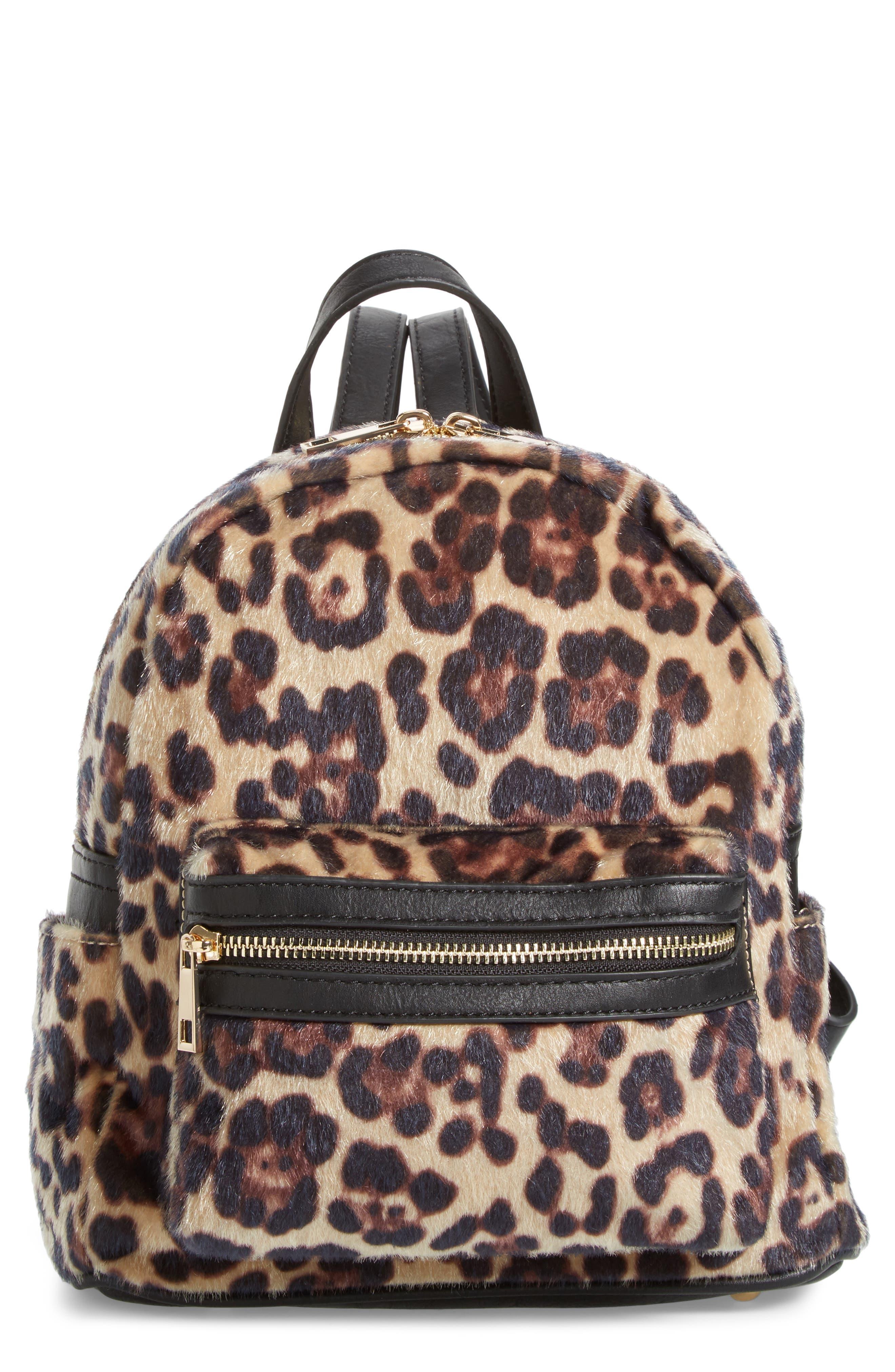 Leopard Print Faux Fur Backpack, Main, color, 200
