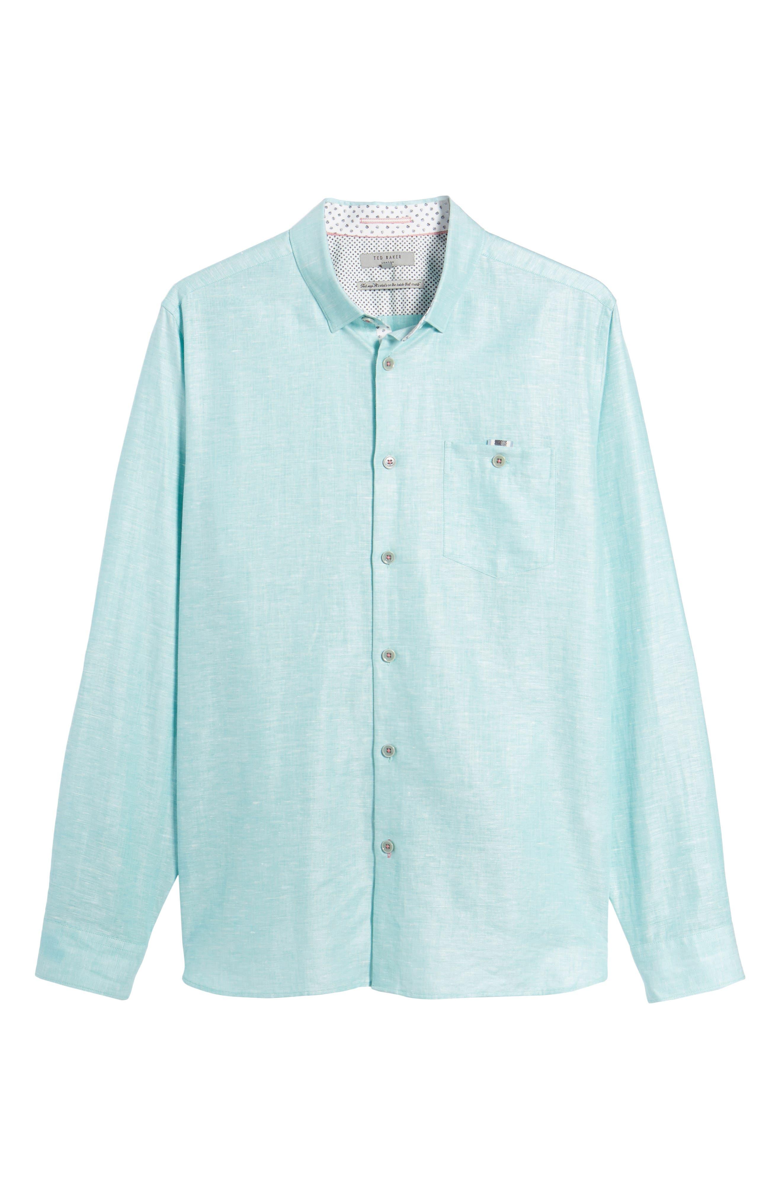 Linlins Herringbone Cotton & Linen Sport Shirt,                             Alternate thumbnail 26, color,