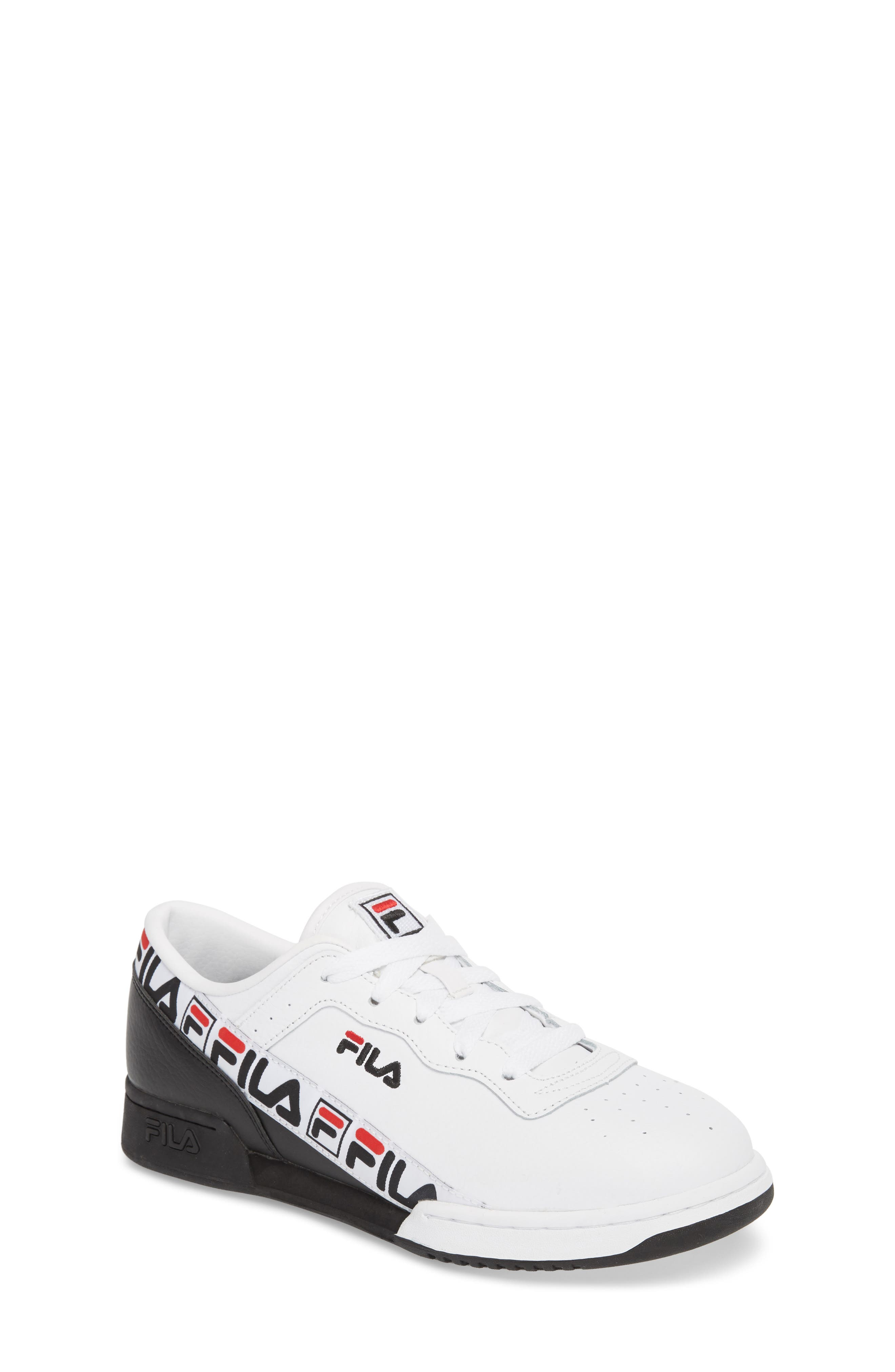 Original Fitness Logo Tape Sneaker,                         Main,                         color, WHITE/ BLACK/ FILA RED