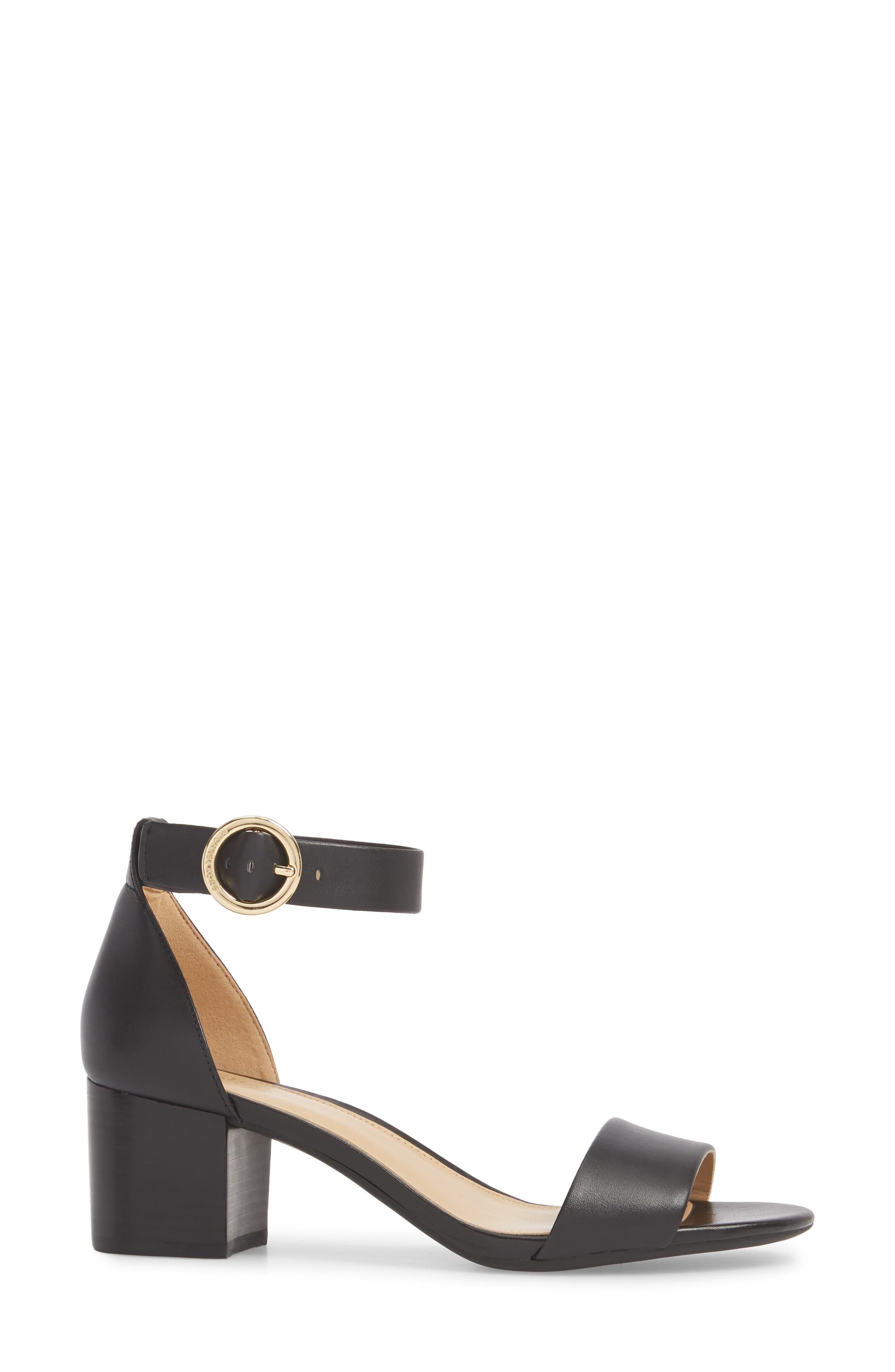 Lena Block Heel Sandal,                             Alternate thumbnail 3, color,                             BLACK