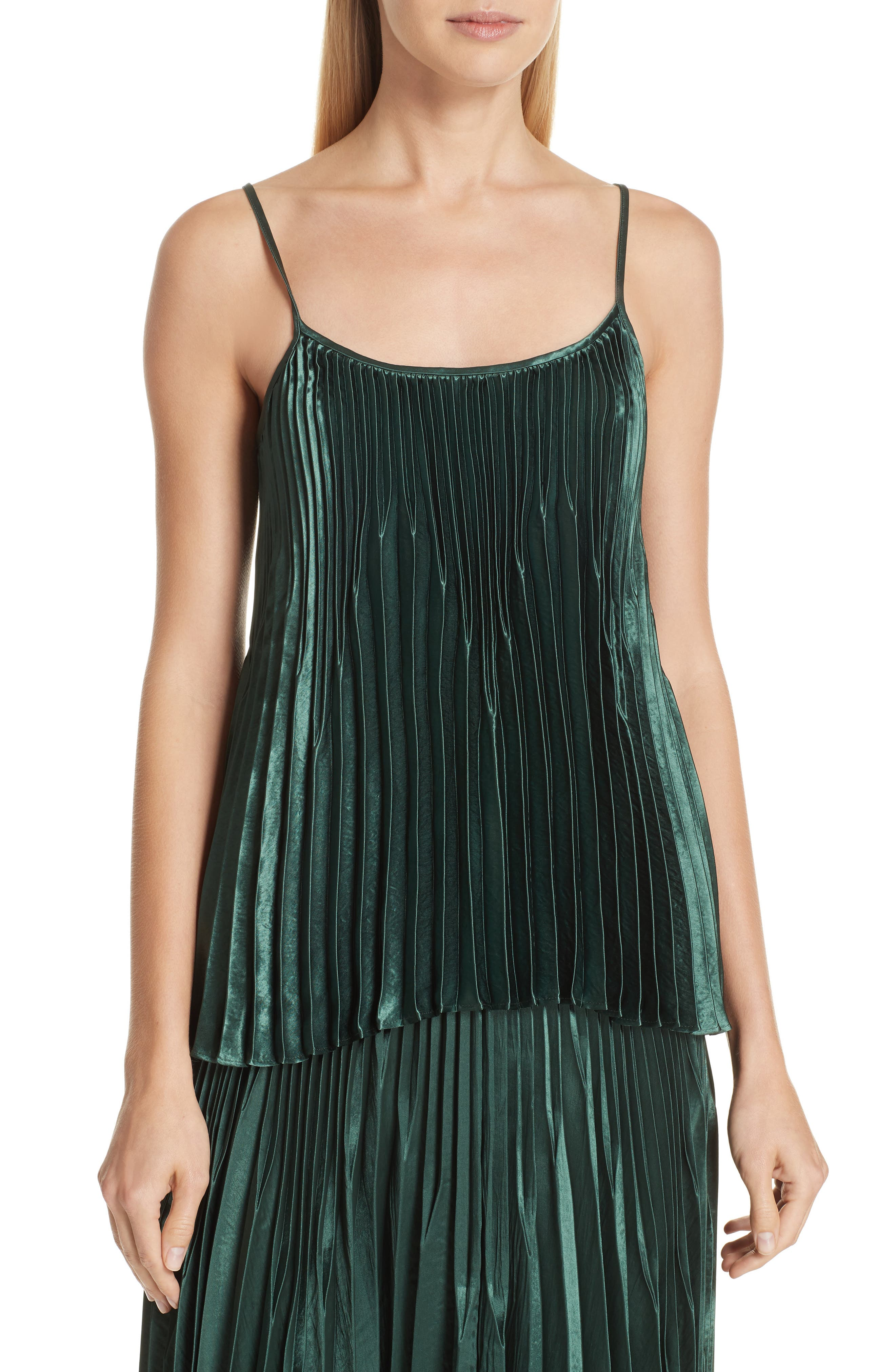 Chevron Pleated Satin Tank,                         Main,                         color, FOREST