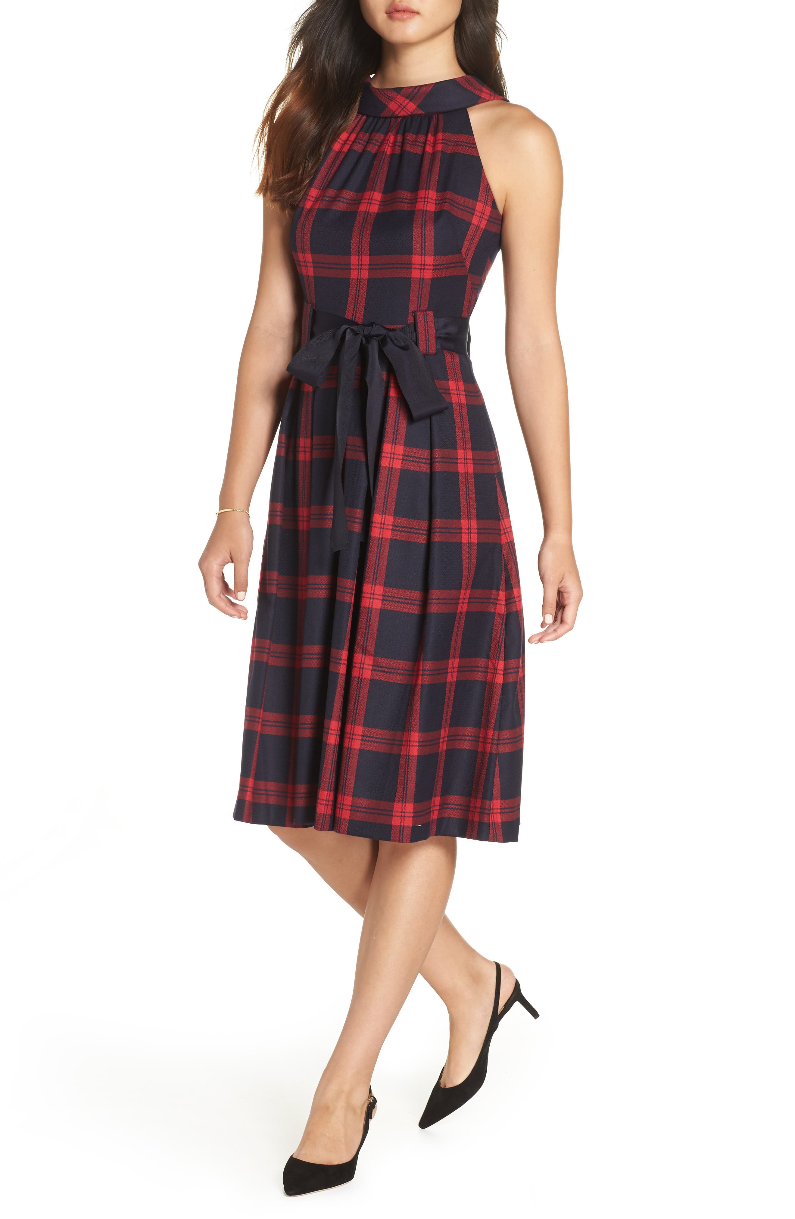 Jacquard Fit & Flare Dress,                             Main thumbnail 1, color,                             RED- NAVY PLAID