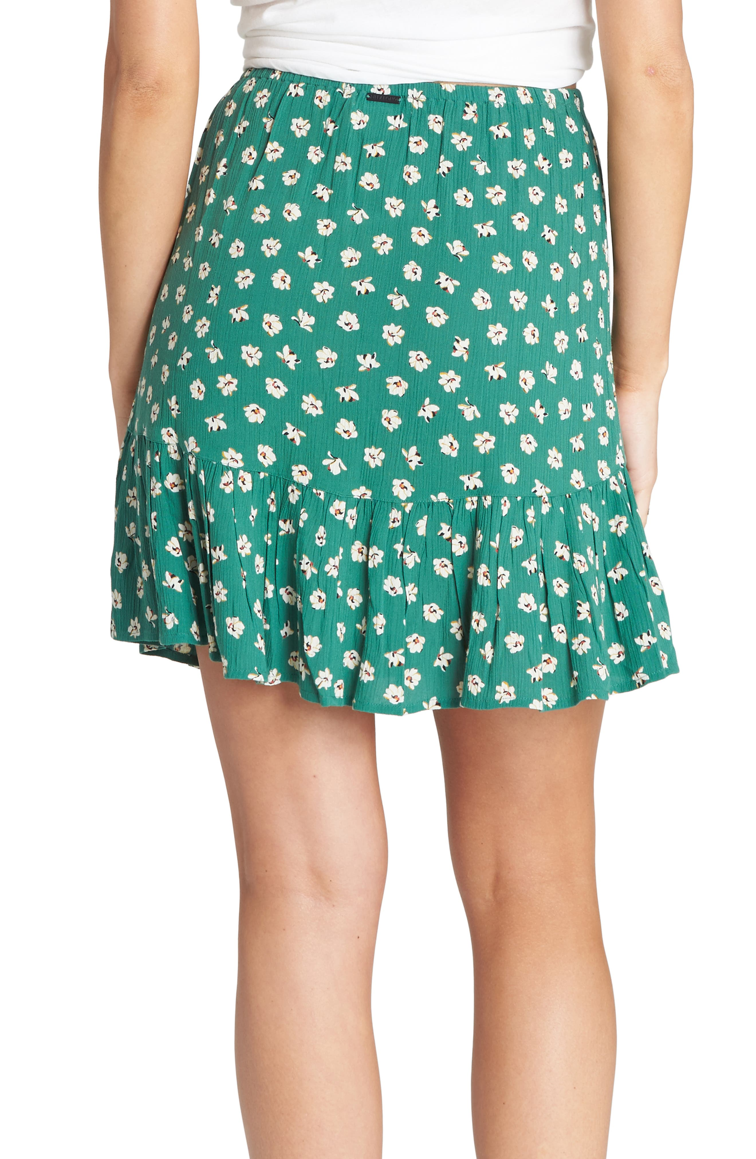 BILLABONG,                             For the Ride Floral Print Faux Wrap Skirt,                             Alternate thumbnail 2, color,                             ISLAND GREEN