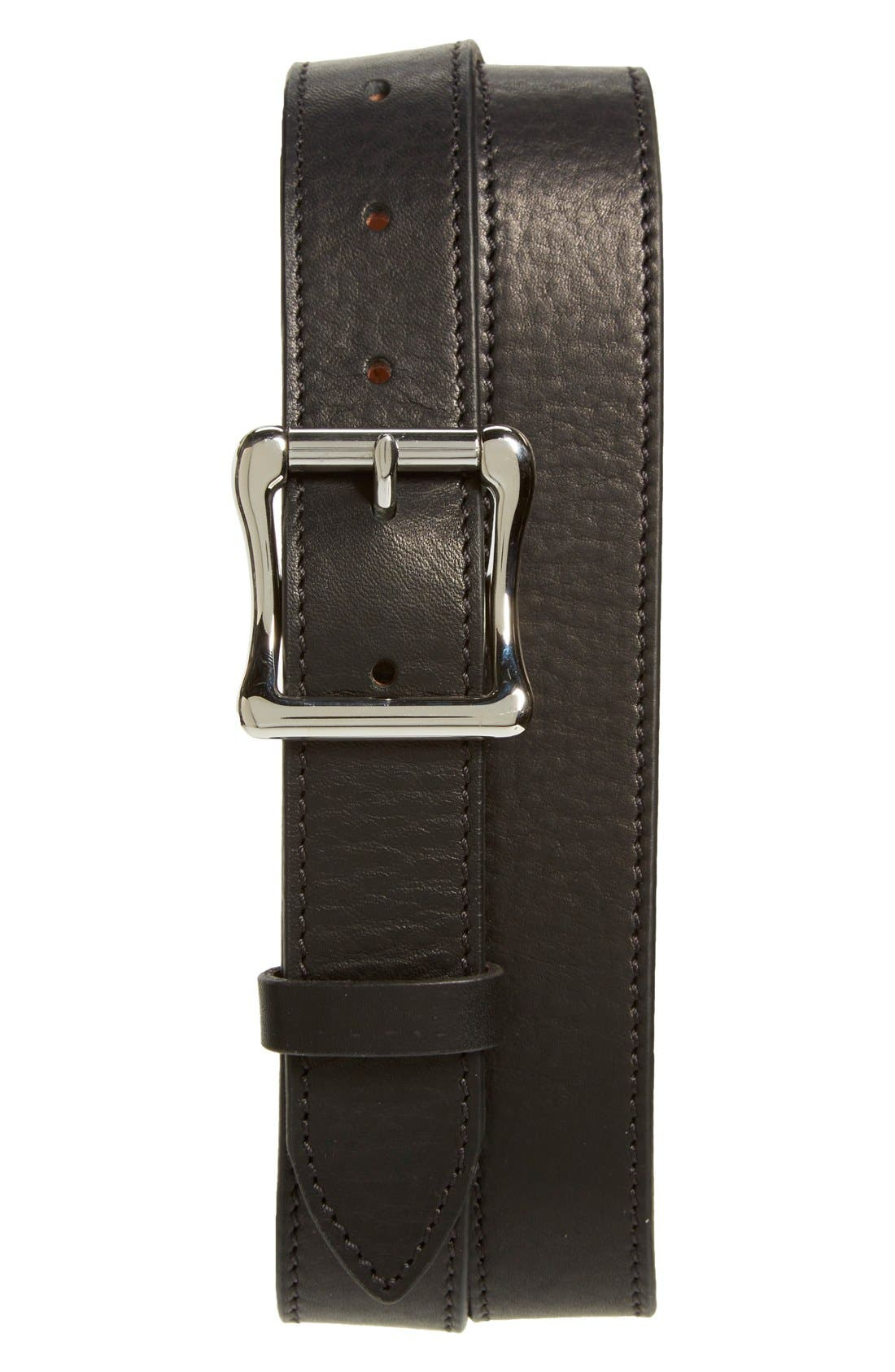 Leather Roller Belt,                         Main,                         color, BLACK