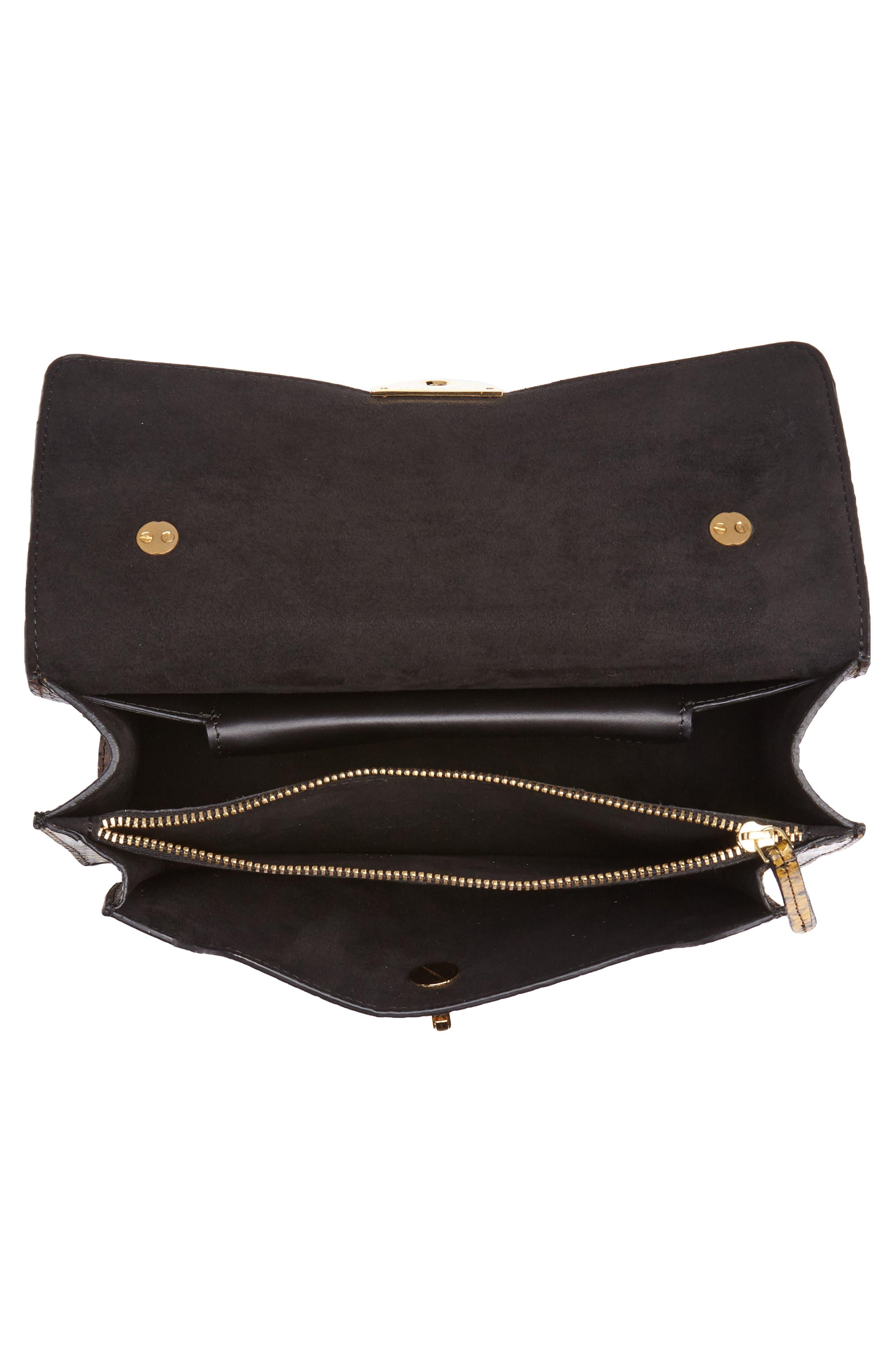Croc Embossed Leather Shoulder Bag,                             Alternate thumbnail 4, color,                             200