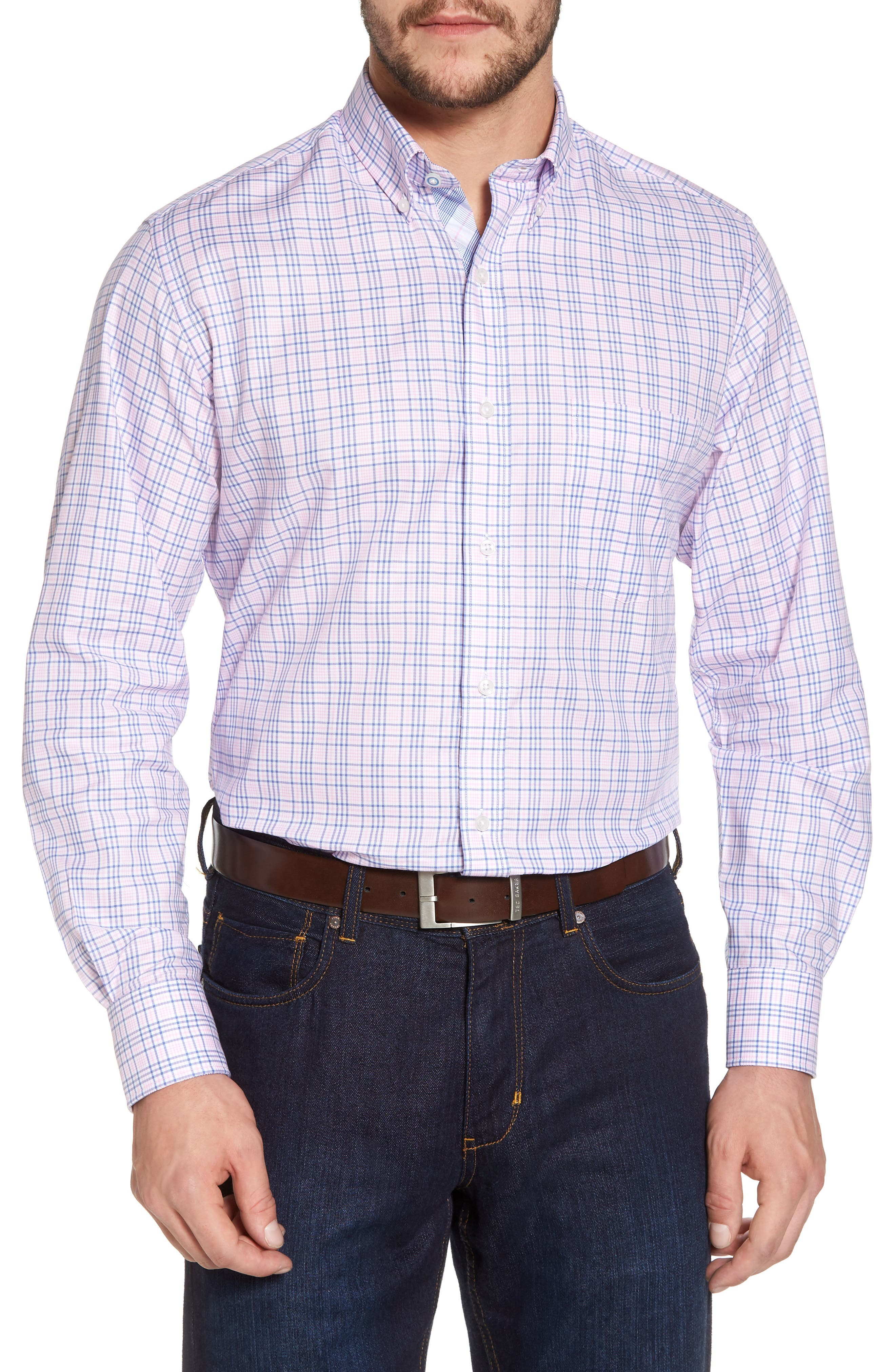 Barry Regular Fit Plaid Sport Shirt,                             Main thumbnail 1, color,                             650