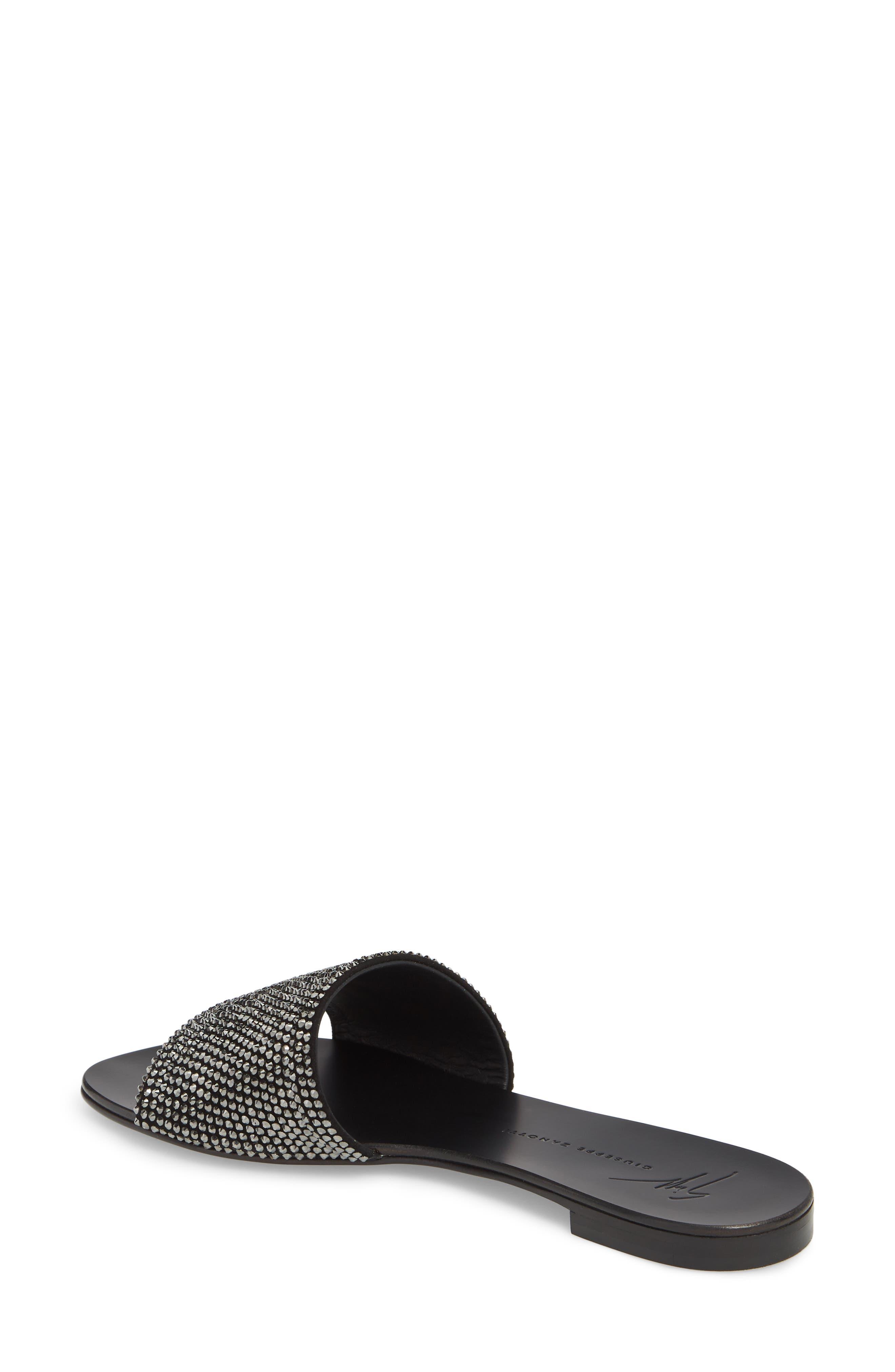 Crystal Embellished Slide Sandal,                             Alternate thumbnail 2, color,                             BLACK
