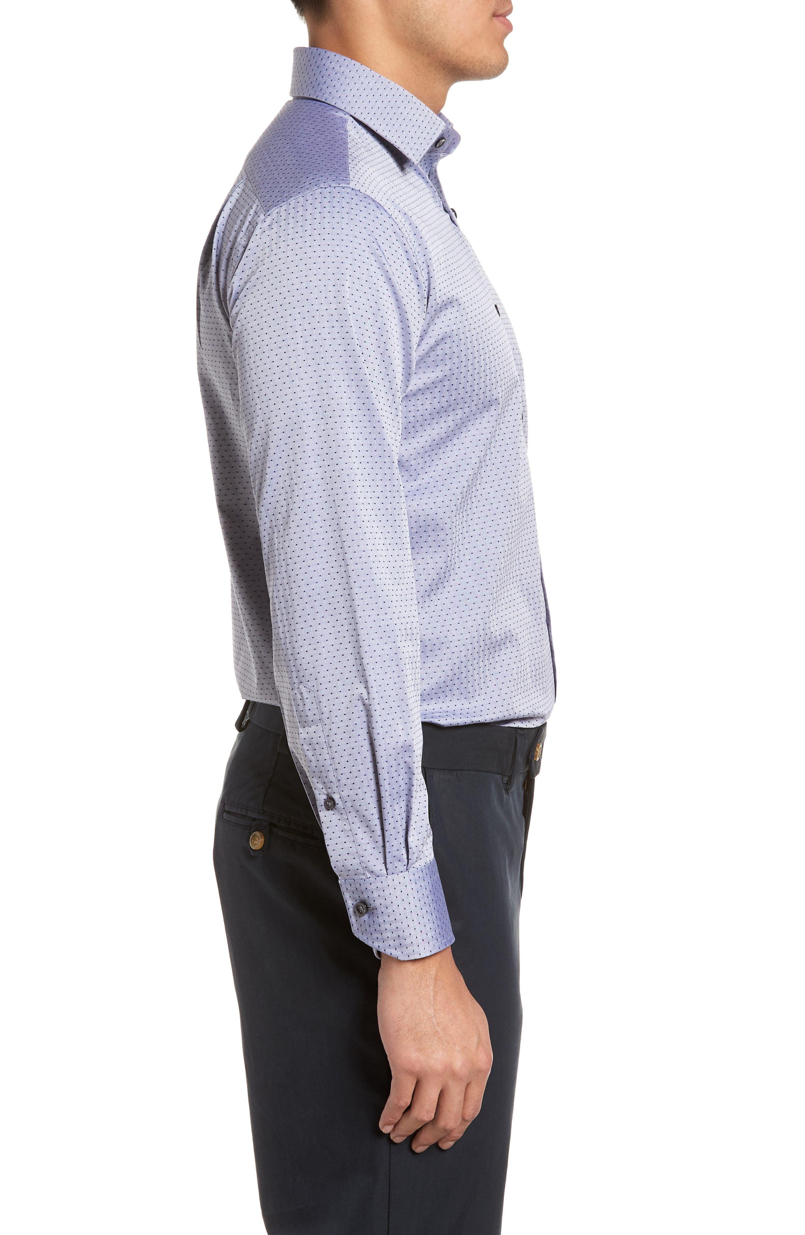 Pin Dot Dress Shirt,                             Alternate thumbnail 4, color,                             NAVY/ GREY