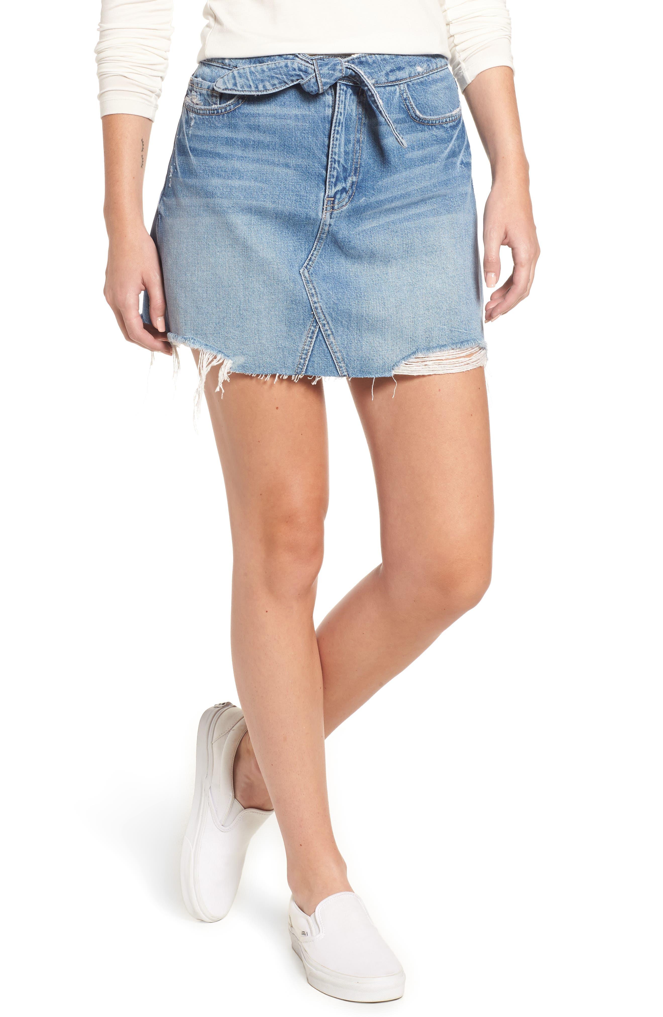 Alethea High Waist Denim Skirt,                         Main,                         color,