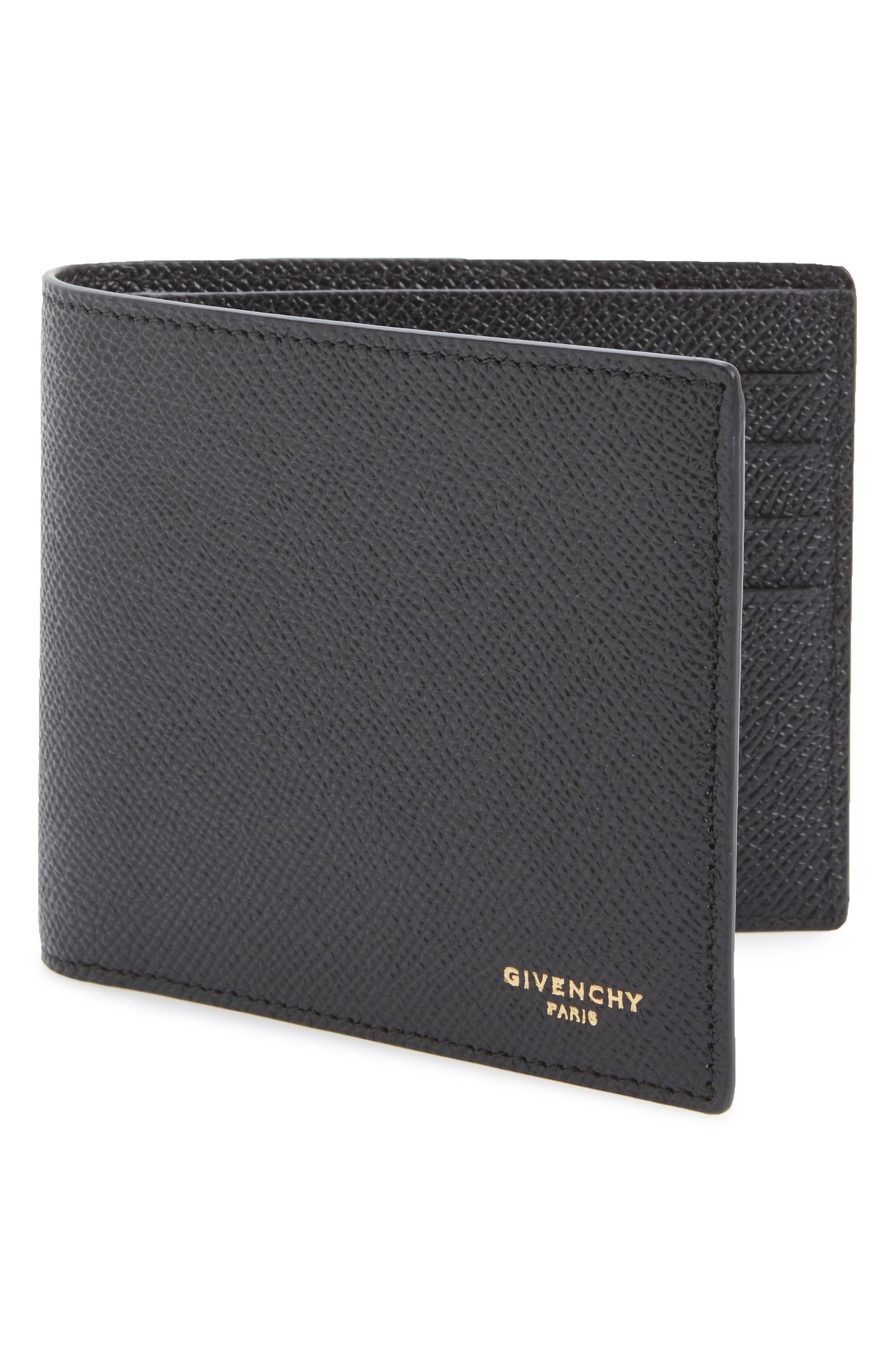 Calfskin Leather Bifold Wallet,                             Alternate thumbnail 4, color,                             BLACK