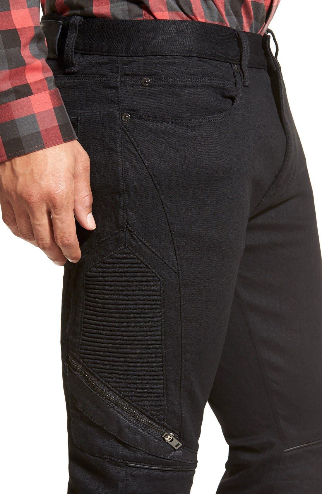 ZZDNUHUGO BOSS,                             HUGO '734/24' Skinny Fit Moto Jeans,                             Alternate thumbnail 3, color,                             001