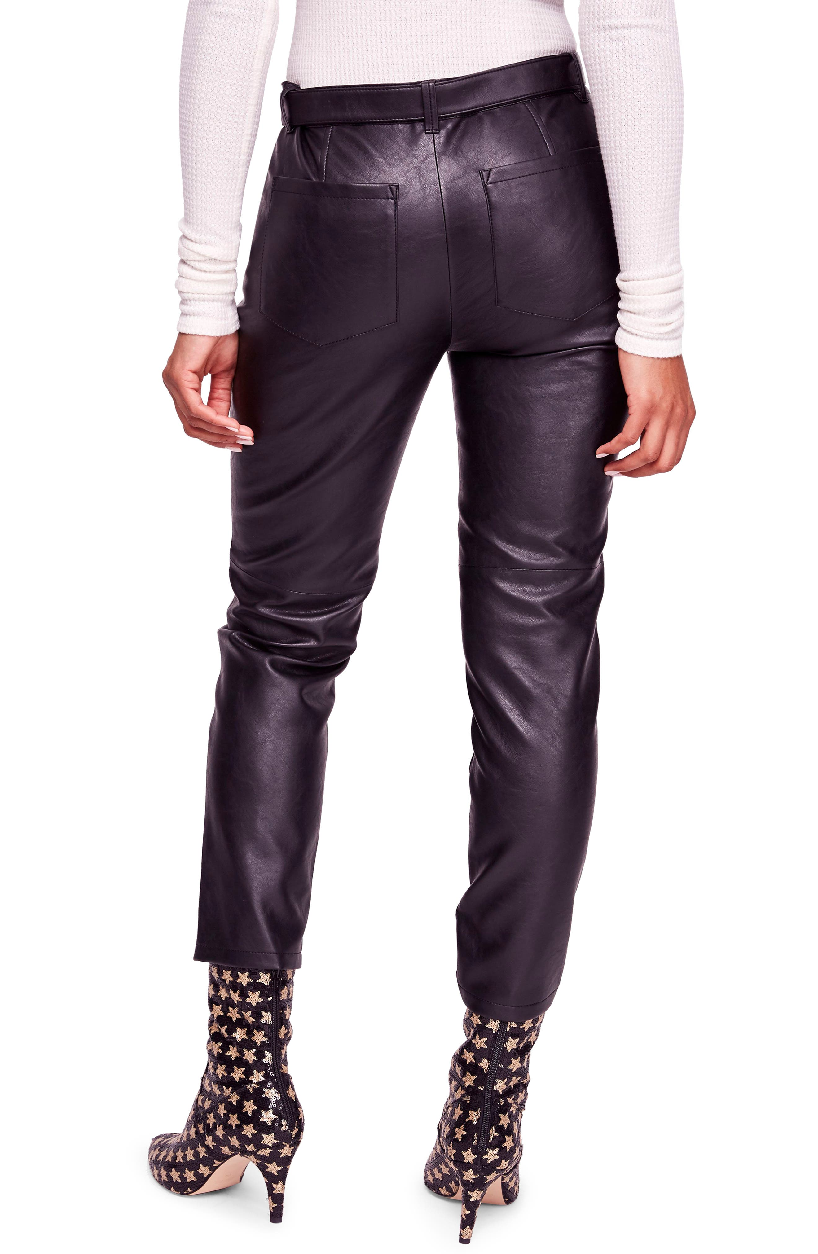Belted Faux Leather Skinny Pants,                             Alternate thumbnail 2, color,                             001