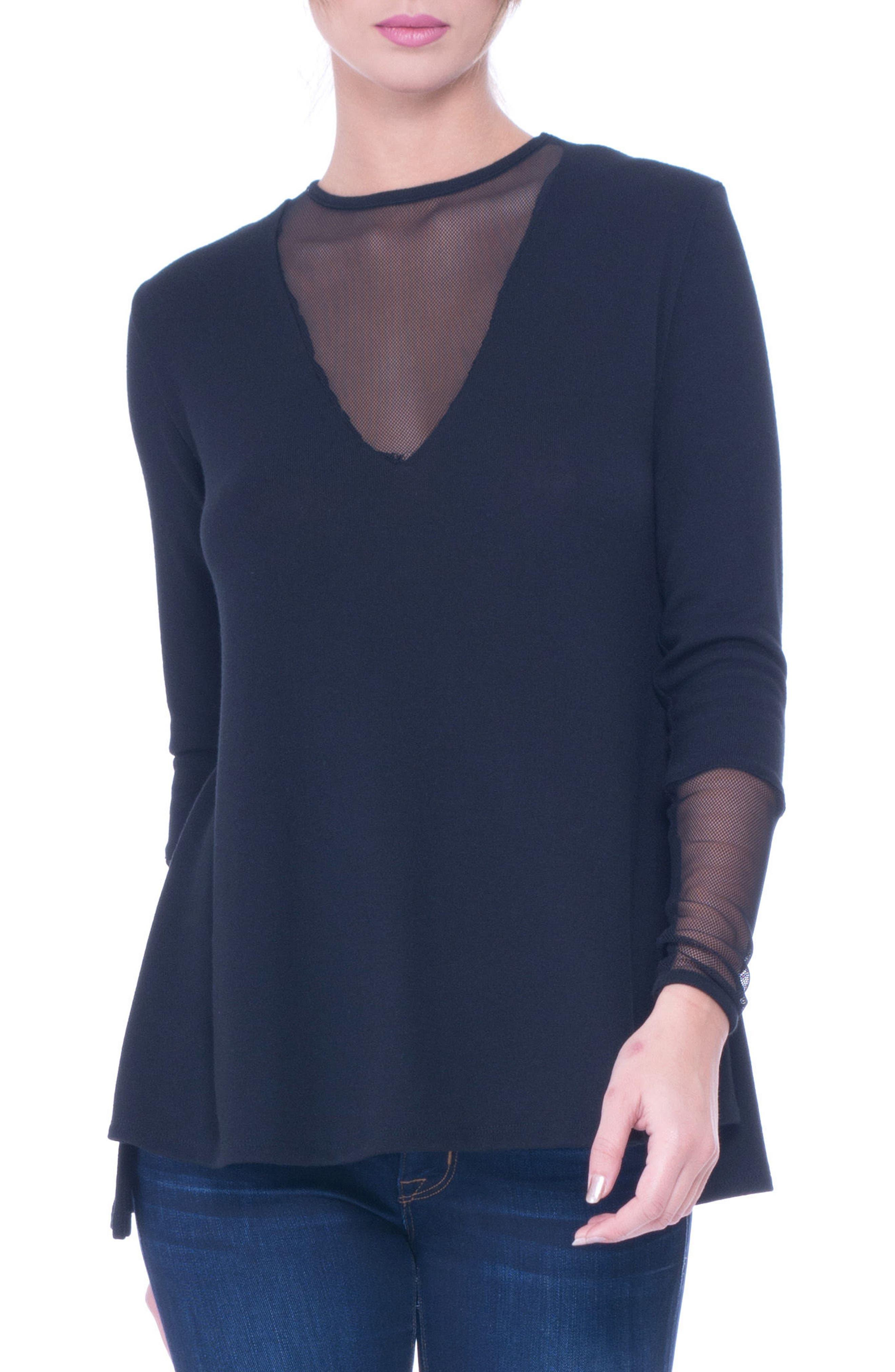 Kassie Mesh Trim Maternity Sweater,                             Main thumbnail 1, color,                             001