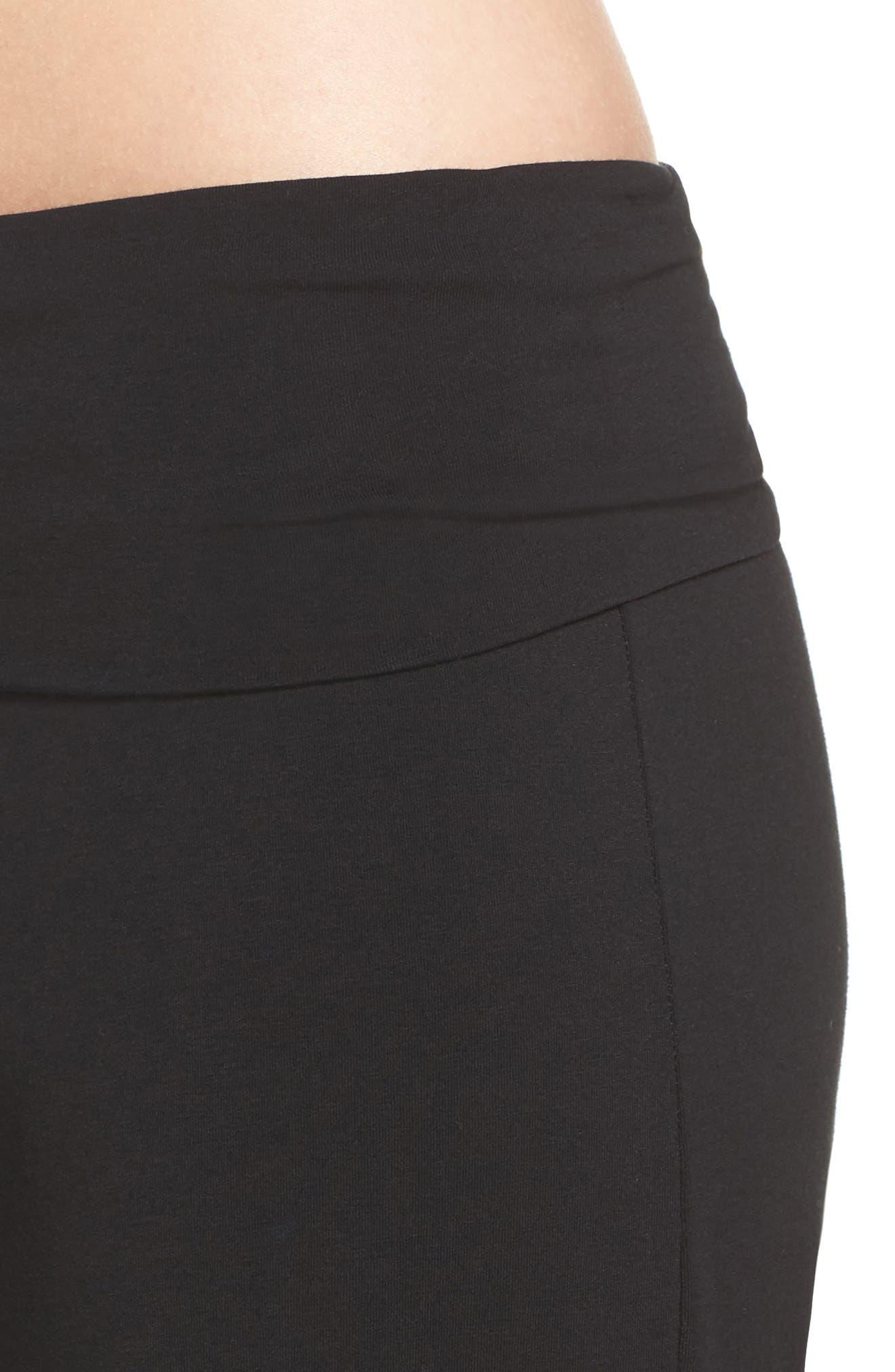 Wide Leg Stretch Cotton Pajama Pants,                             Alternate thumbnail 4, color,                             001