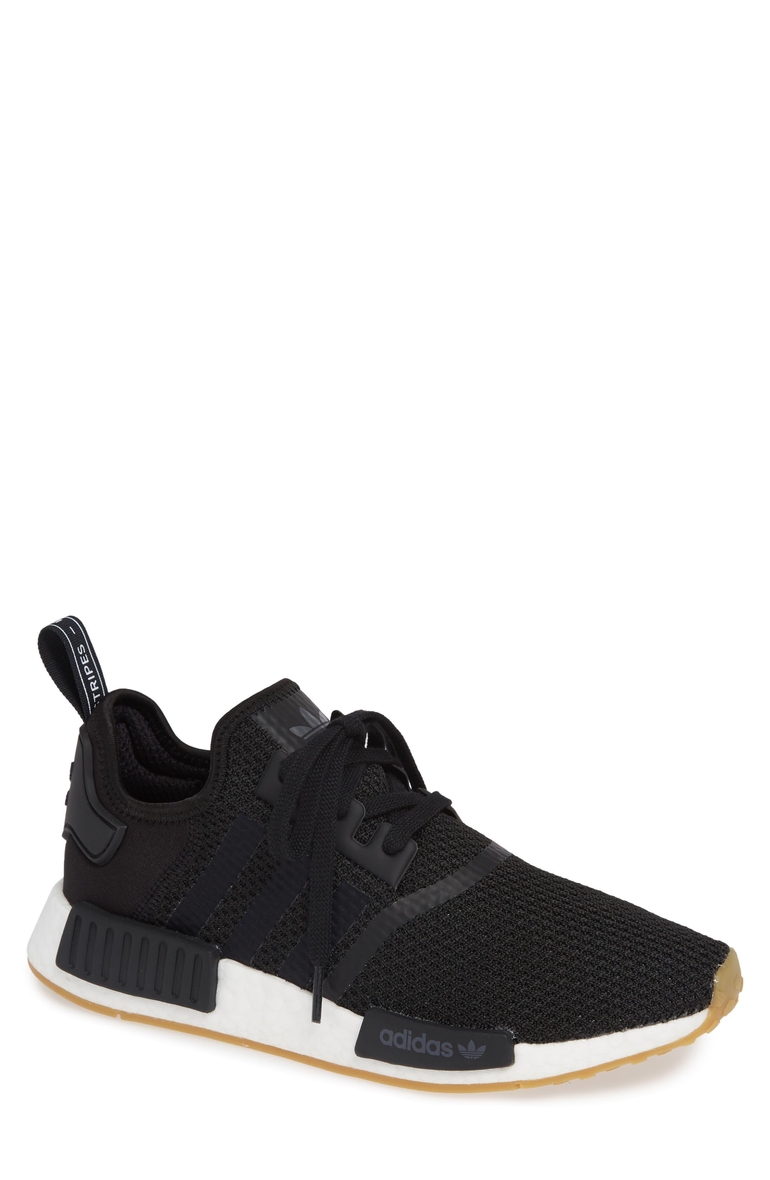 Originals NMD R1 Sneaker,                         Main,                         color, BLACK/ BLACK/ GUM