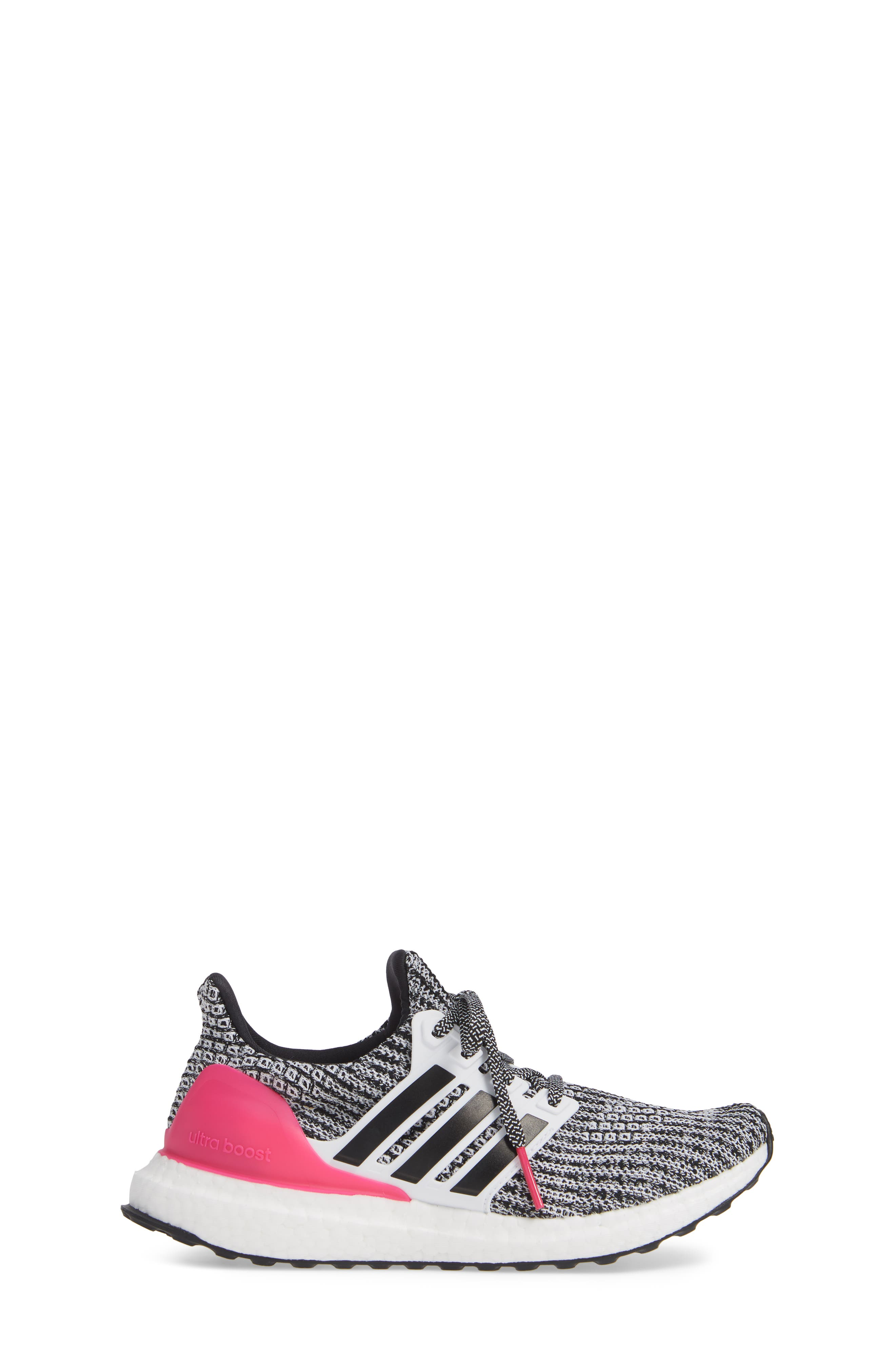 UltraBoost Sneaker,                             Alternate thumbnail 3, color,                             WHITE/ BLACK/ SHOCK PINK
