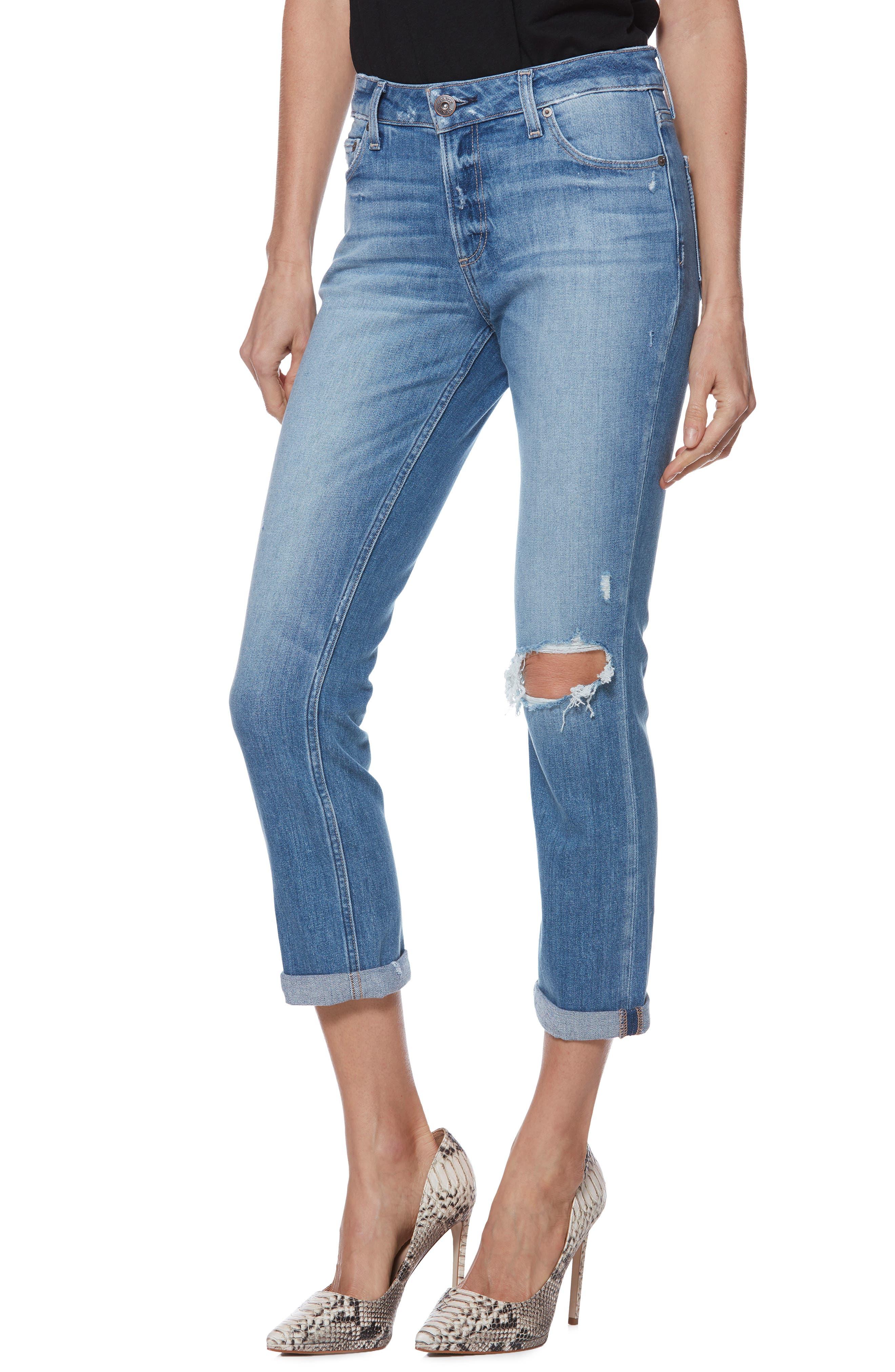 Brigitte Ripped Crop Boyfriend Jeans,                             Main thumbnail 1, color,                             BROOKVIEW DESTRUCTED