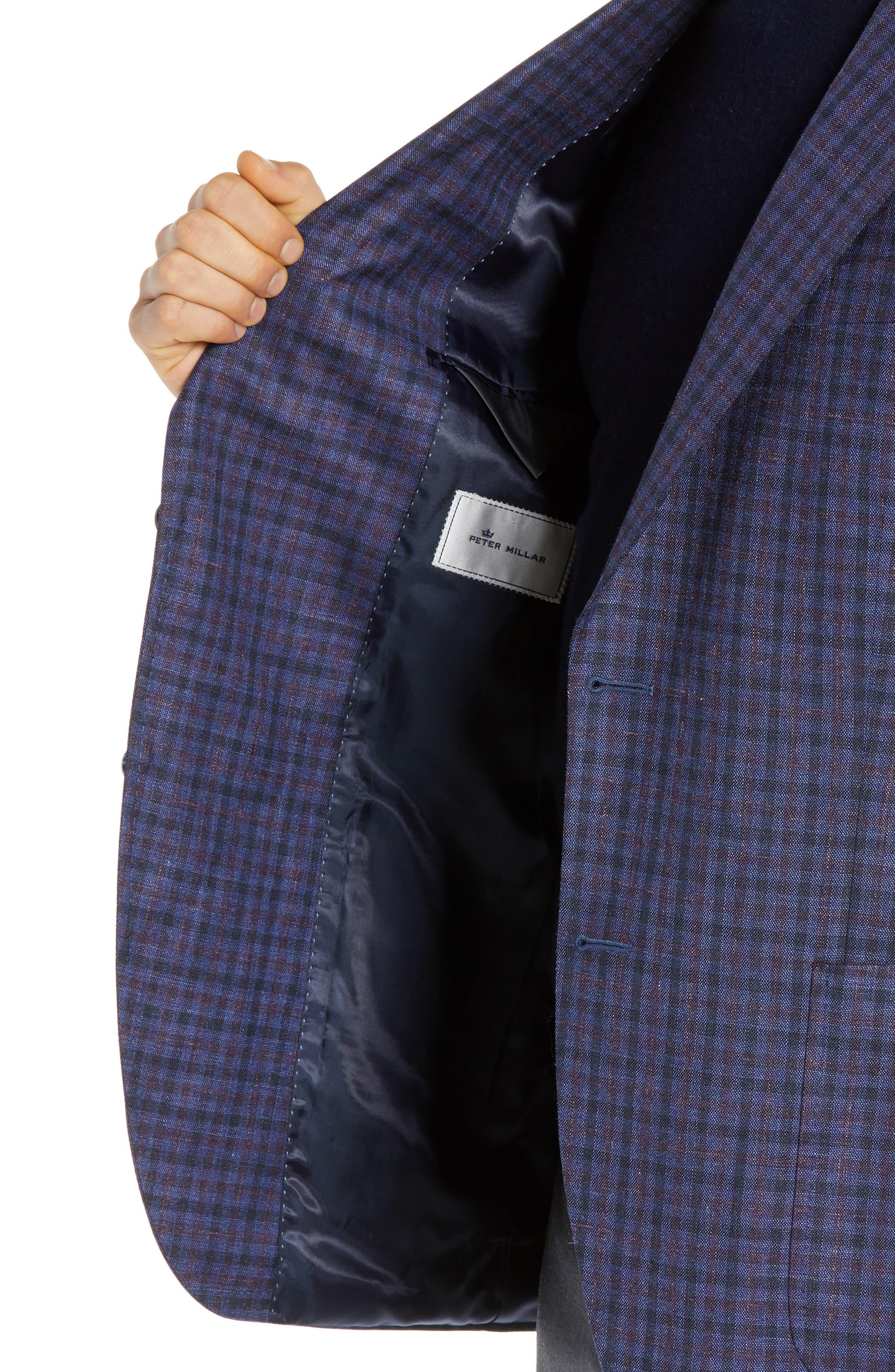 Hyperlight Classic Fit Check Wool Blend Sport Coat,                             Alternate thumbnail 4, color,                             BLUE