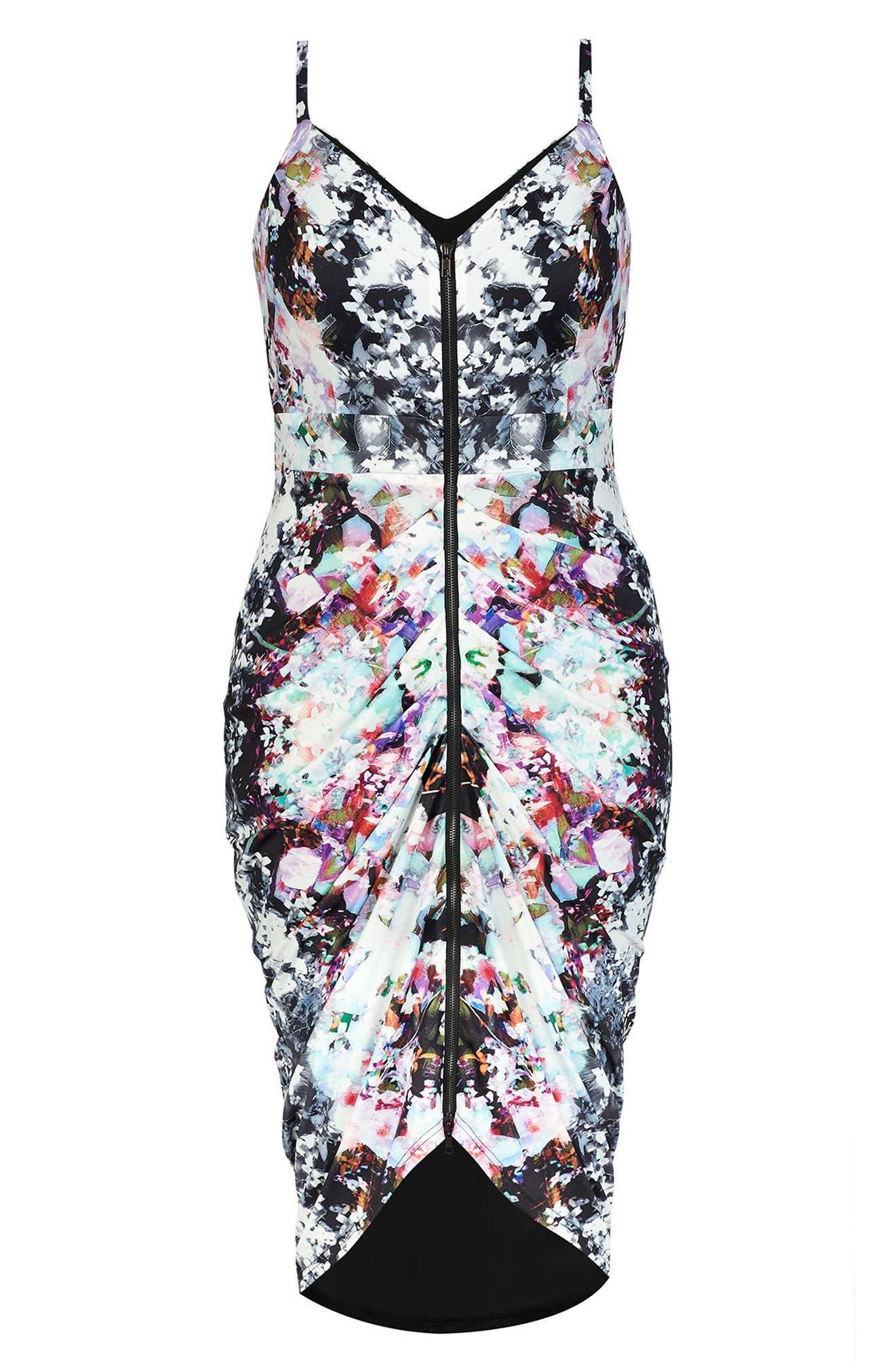 Fresh Floral Body-Con Dress,                             Alternate thumbnail 3, color,                             FRESH FLORAL