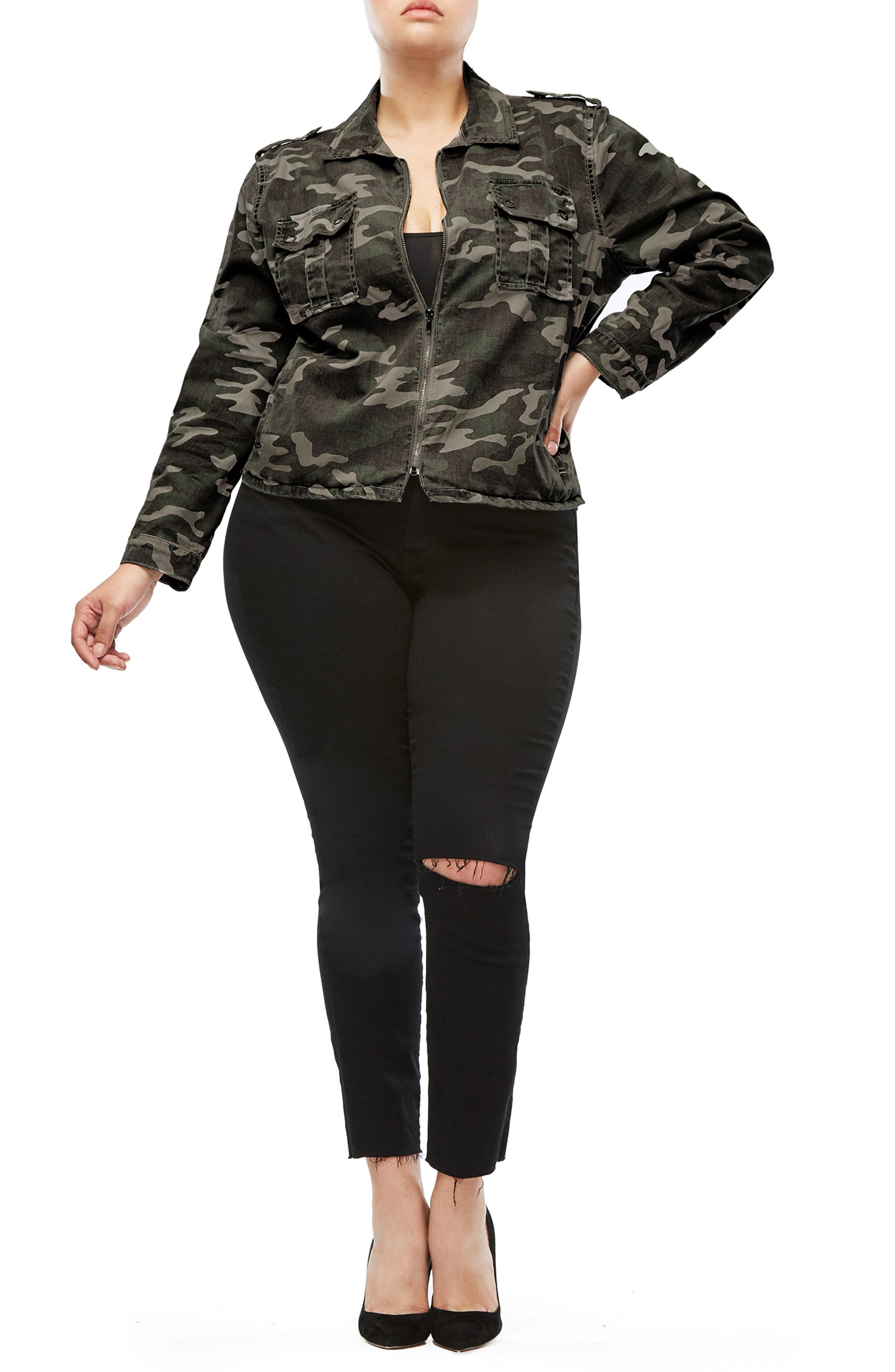 Camo Print Military Jacket,                             Alternate thumbnail 8, color,                             301