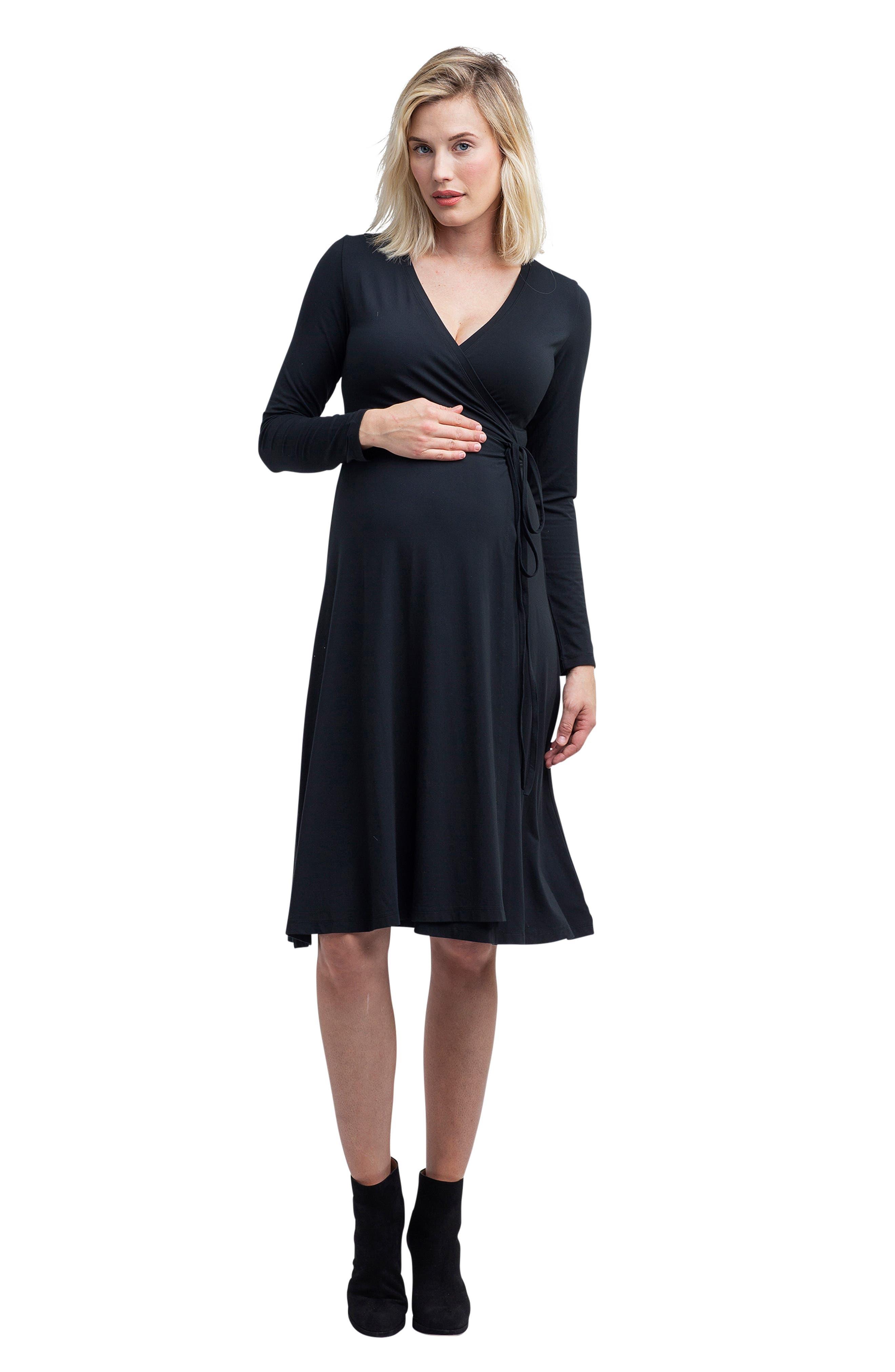Tessa Jersey Maternity/Nursing Wrap Dress,                             Alternate thumbnail 5, color,                             BLACK