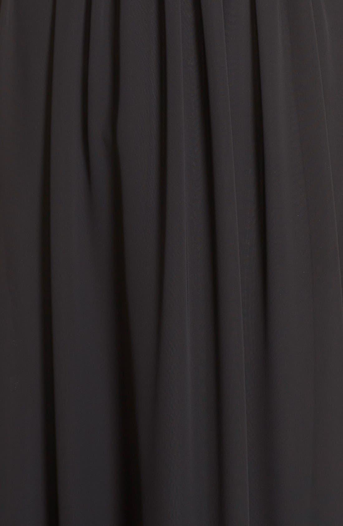 Lace & Chiffon Halter Gown,                             Alternate thumbnail 5, color,                             001