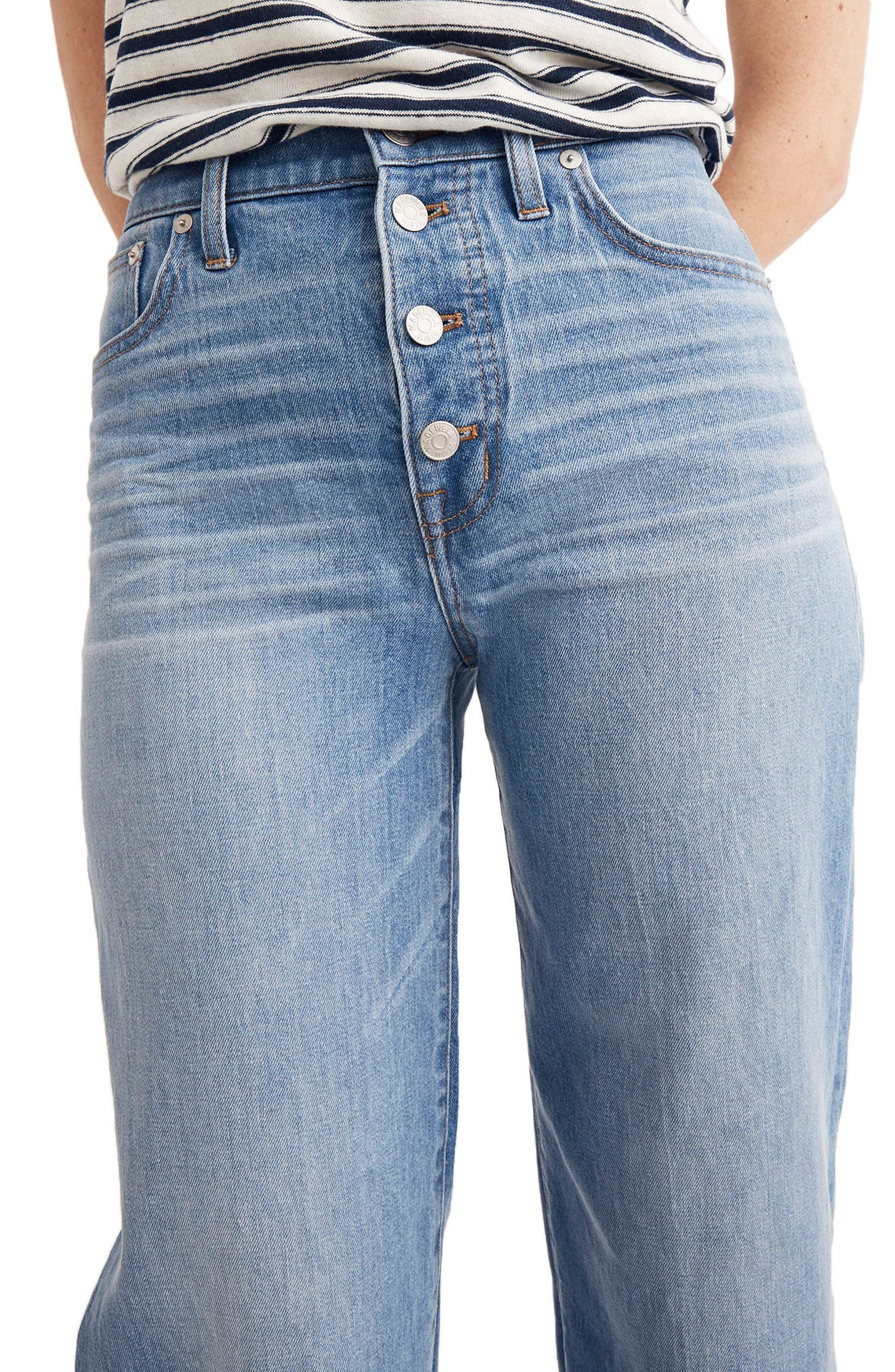 Button Front Wide Leg Crop Jeans,                             Alternate thumbnail 3, color,                             MARTINA WASH
