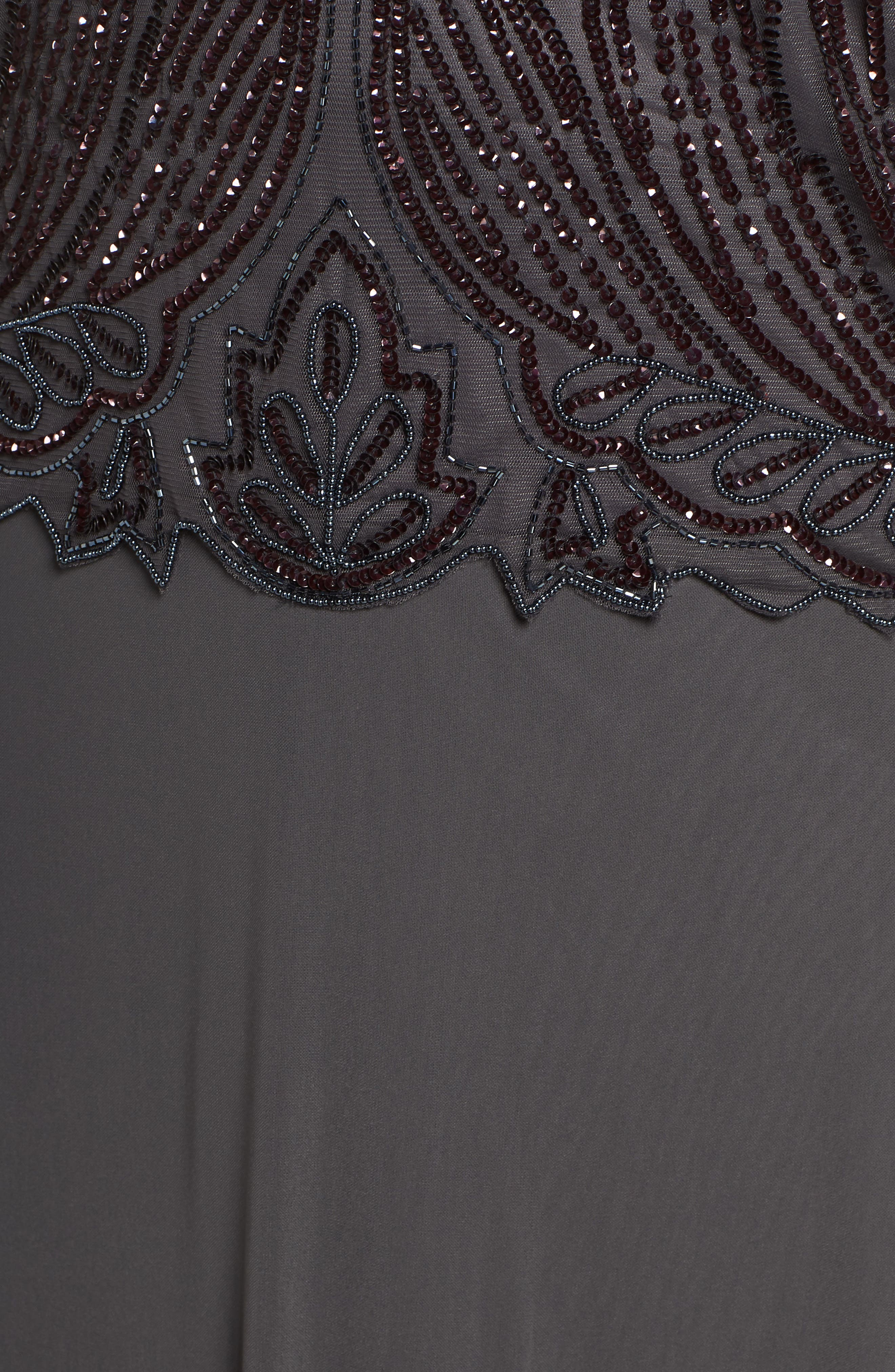 Illusion Neck Beaded A-Line Gown,                             Alternate thumbnail 6, color,                             NEW ASH
