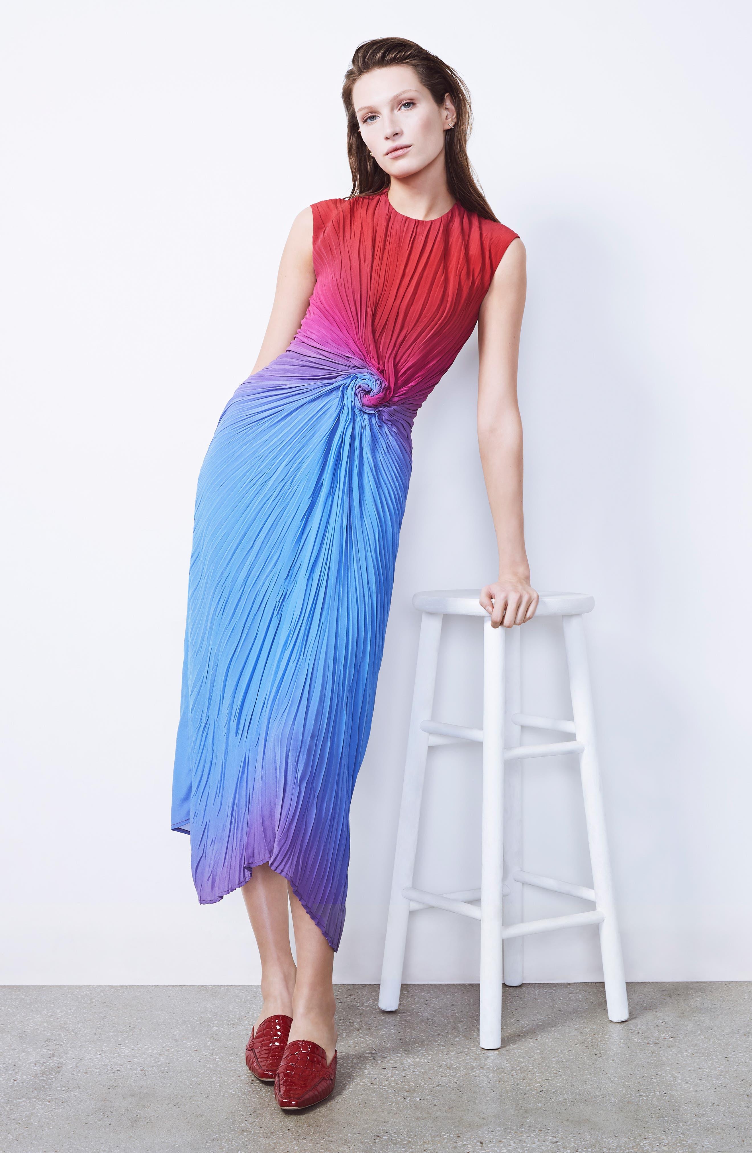 Twist Front Dégradé Silk Dress,                             Alternate thumbnail 8, color,                             DUSTY BLUE/ LIPSTICK