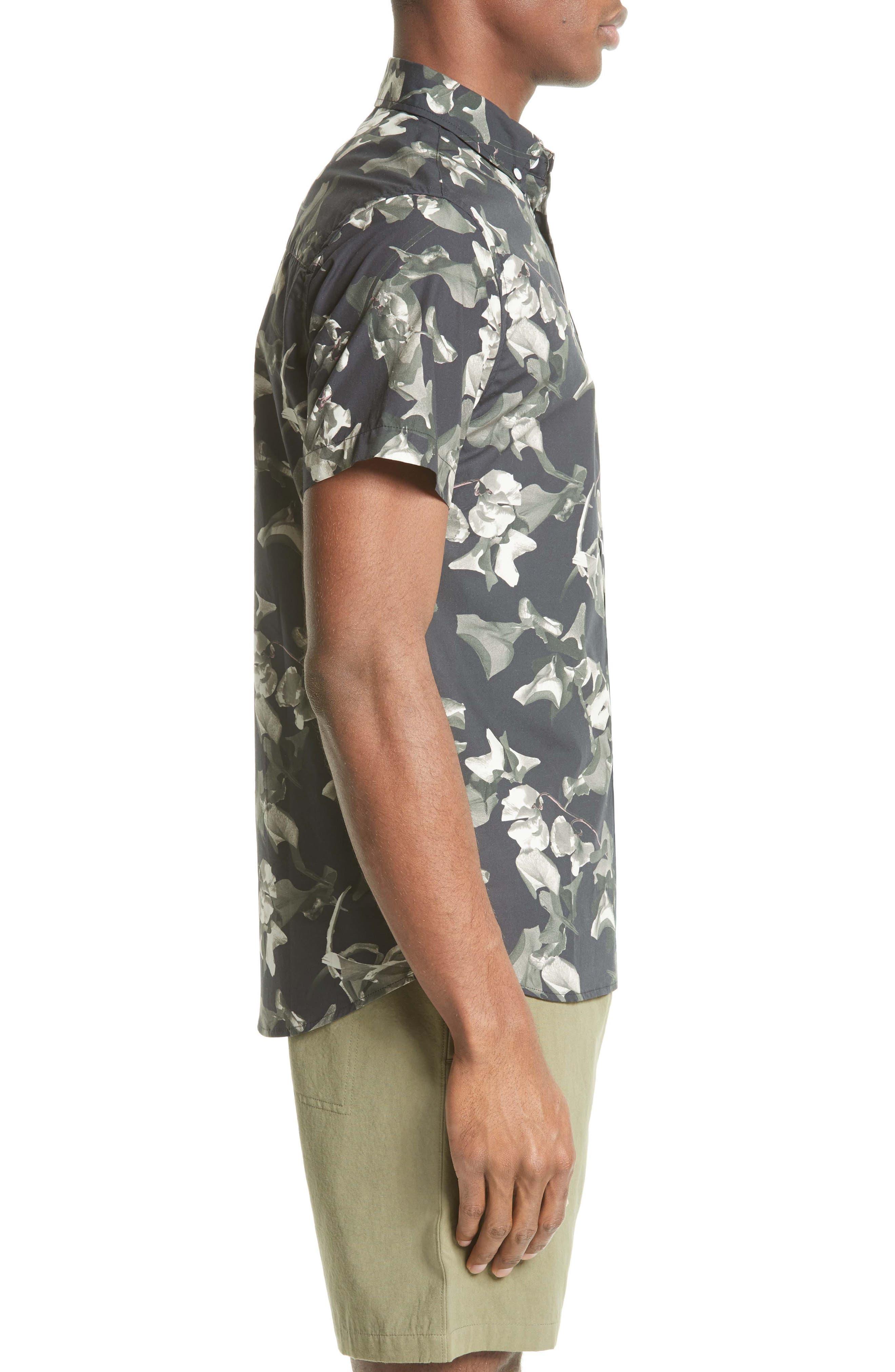 Esquina Petals Print Trim Fit Sport Shirt,                             Alternate thumbnail 3, color,                             020