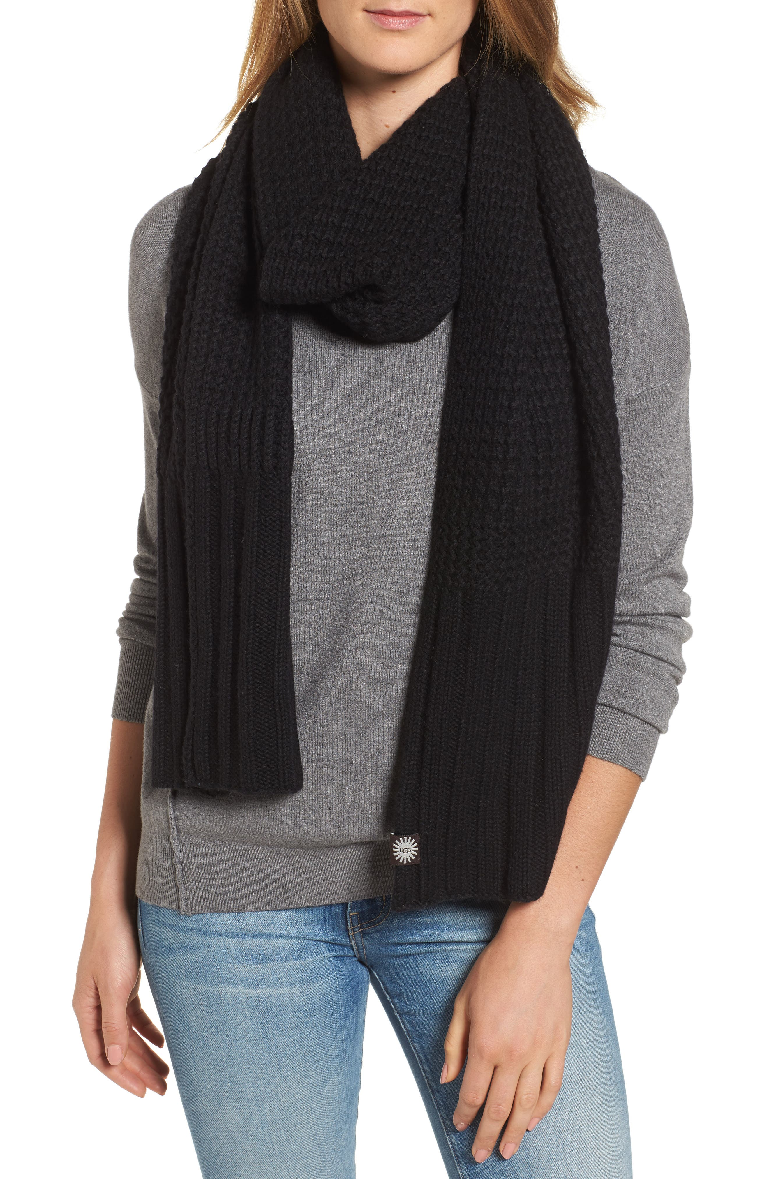 UGG<sup>®</sup> Textured Wool Blend Cardi Scarf,                             Main thumbnail 1, color,                             001
