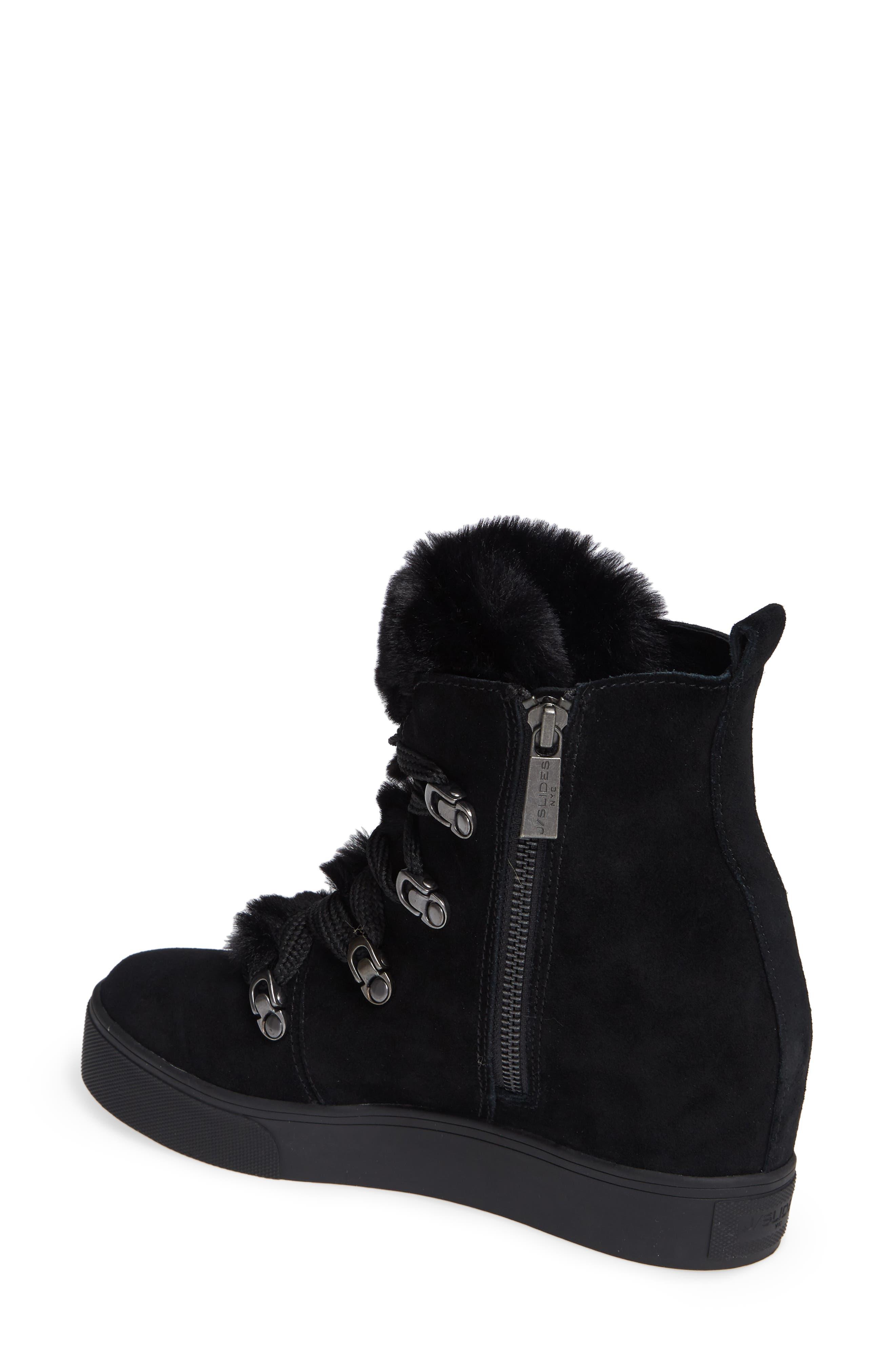 Whitney Faux Fur Trim High Top Sneaker,                             Alternate thumbnail 2, color,                             BLACK SUEDE