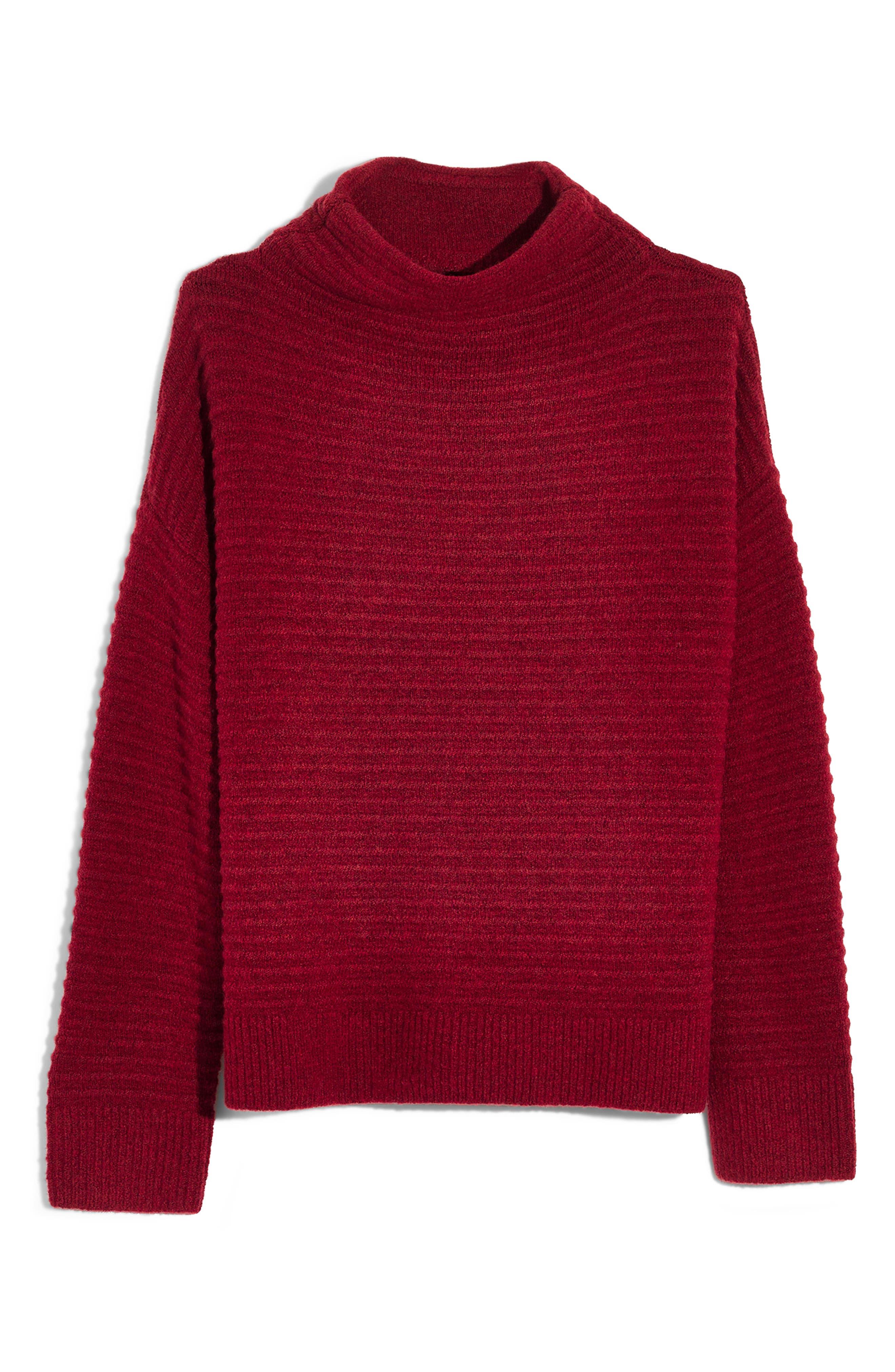 Belmont Mock Neck Sweater,                             Alternate thumbnail 4, color,                             HEATHER CARMINE